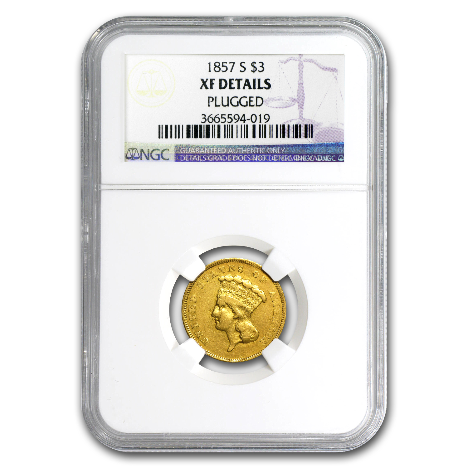1857-S $3 Gold Princess XF Details NGC (Plugged)