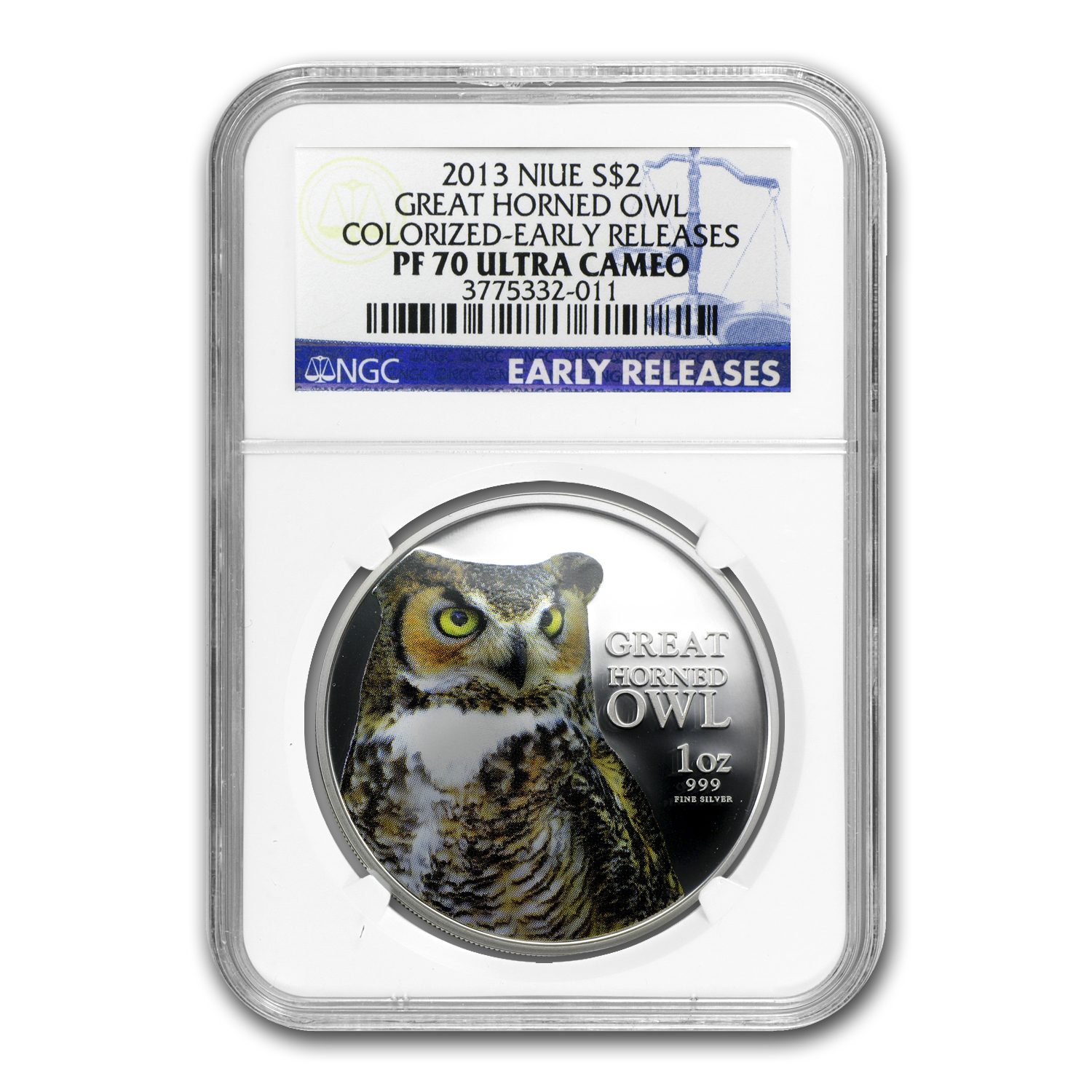 2013 Niue 1 oz Silver $2 Great Horned Owl PF-70 NGC (ER)