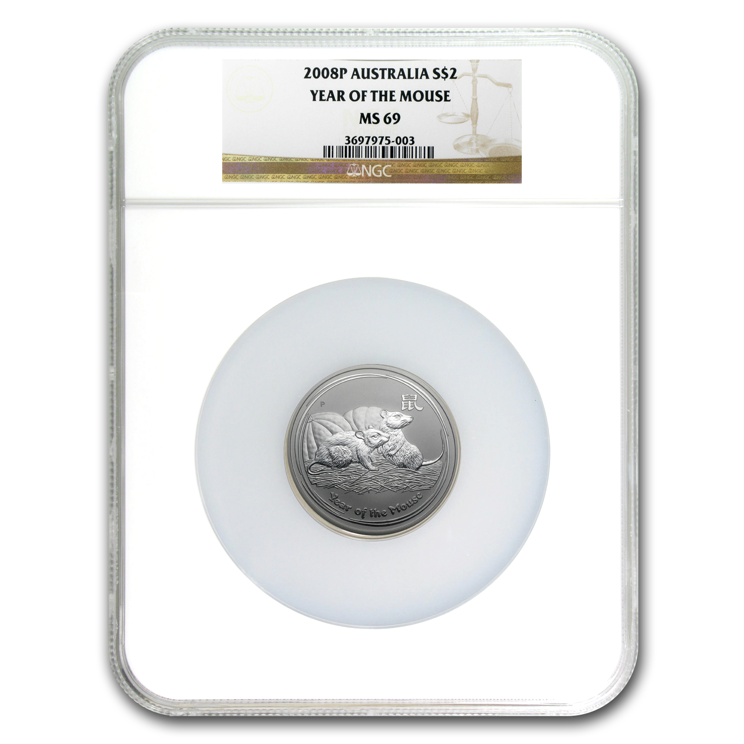 2008 Australia 2 oz Silver Mouse MS-69 NGC (Series II)