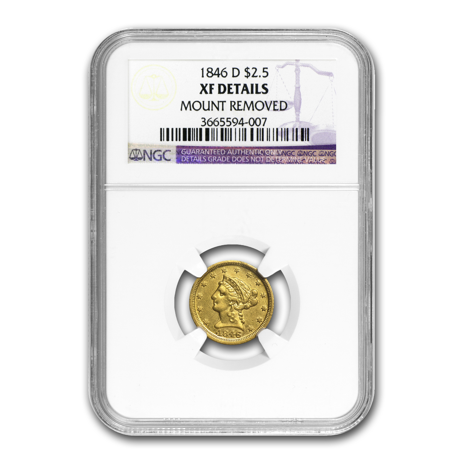 1846-D $2.50 Liberty Gold Quarter Eagle XF Details NGC