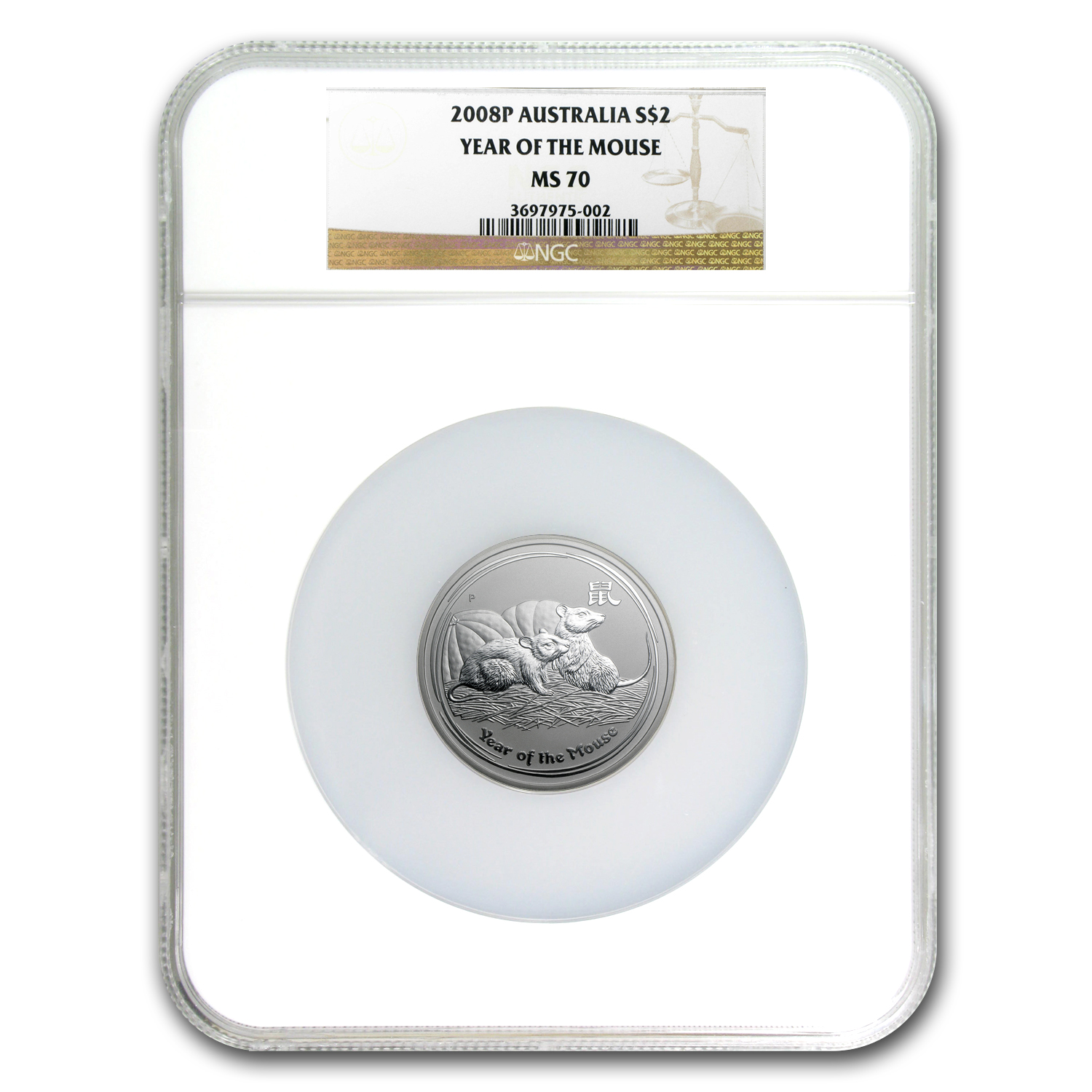 2008 Australia 2 oz Silver Mouse MS-70 NGC (Series II)