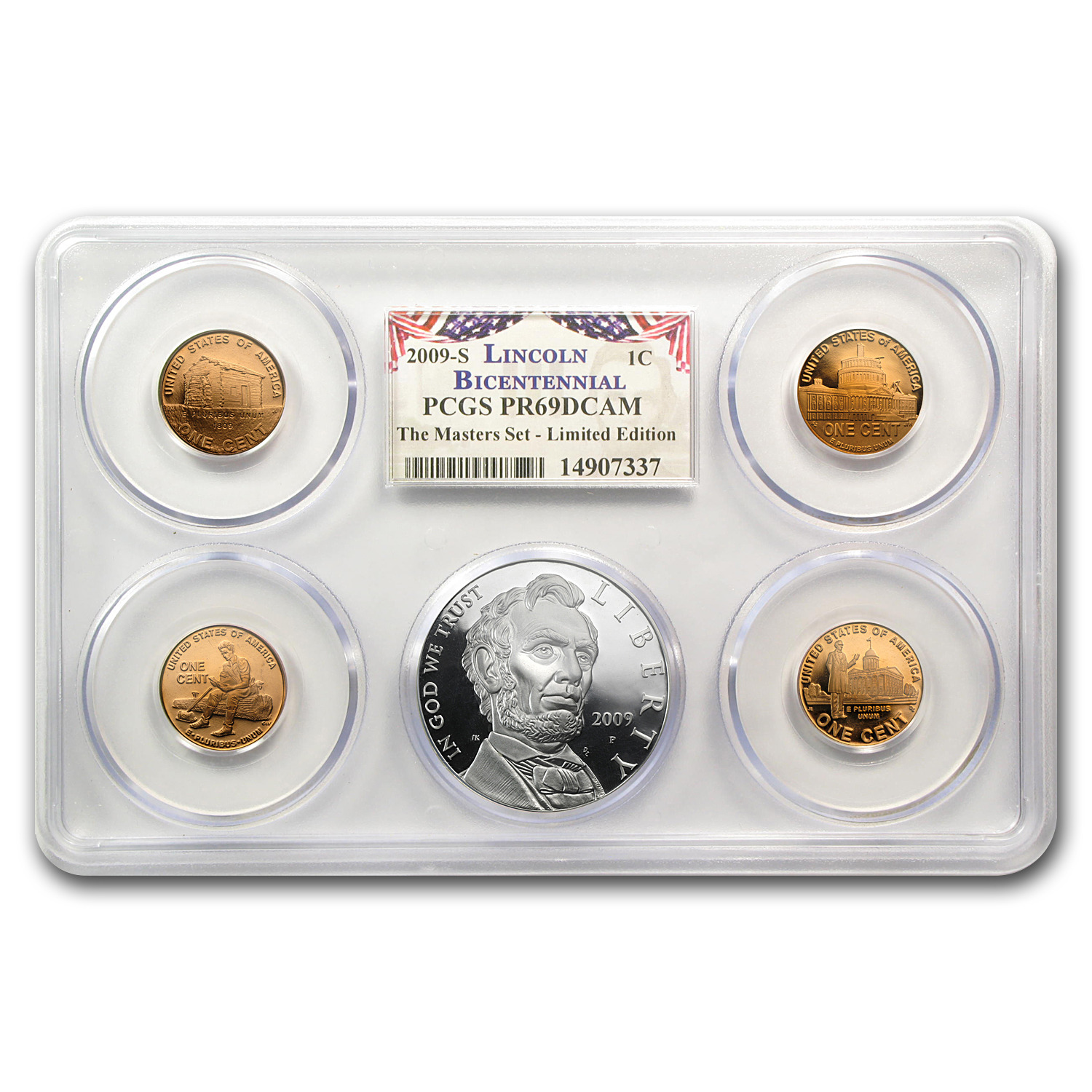 2009-P A. Lincoln Chronicles 5pc $1 Silver Pf Set PR-69 DCAM PCGS