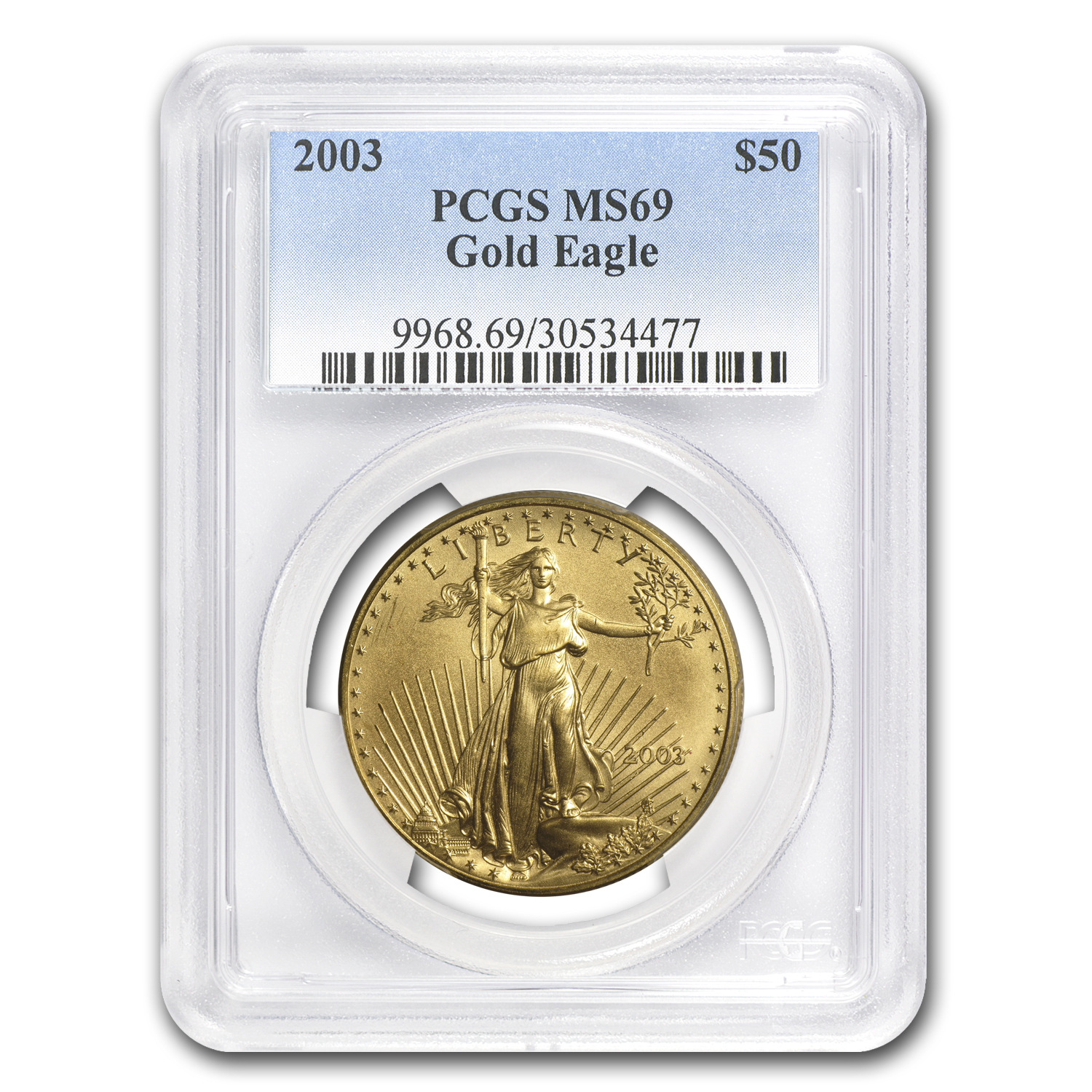 2003 1 oz Gold American Eagle MS-69 PCGS