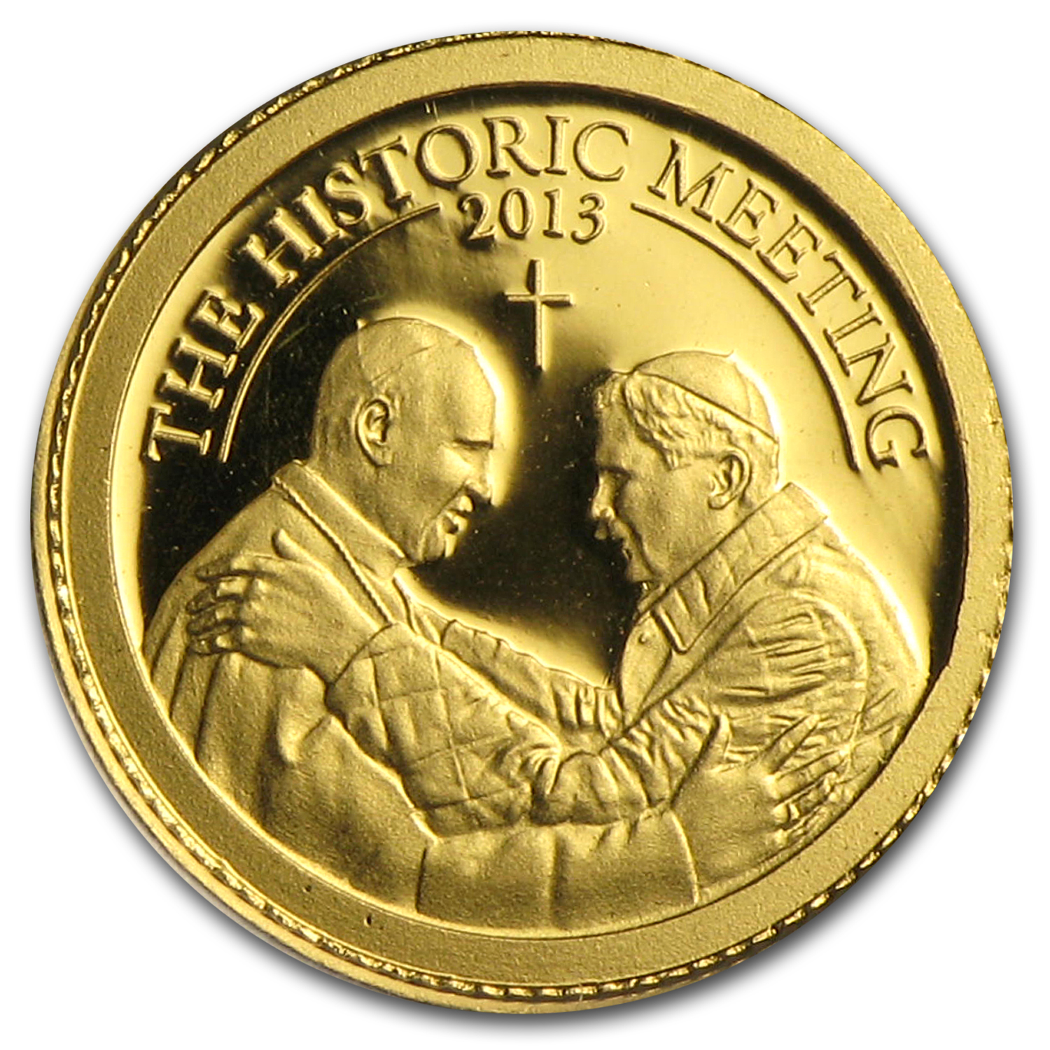 2013 Palau 1/2 gram Gold $1 The Historic Meeting Two Popes