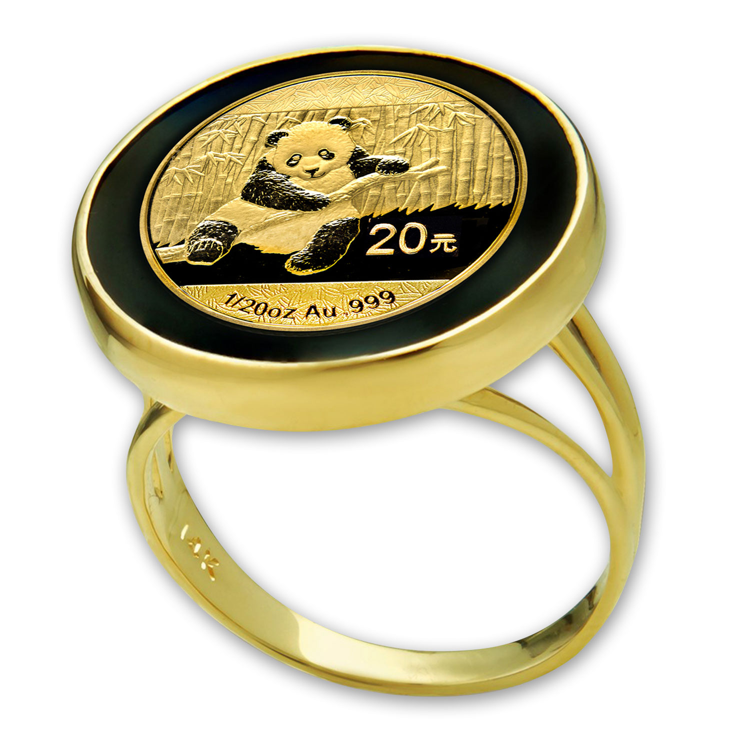 2014 1/20 oz Gold Panda Ring (Polished - Onyx)