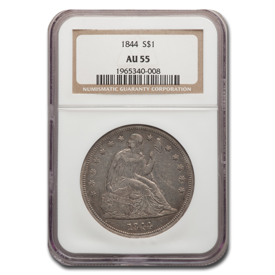 1844 Liberty Seated Dollar AU-55 NGC