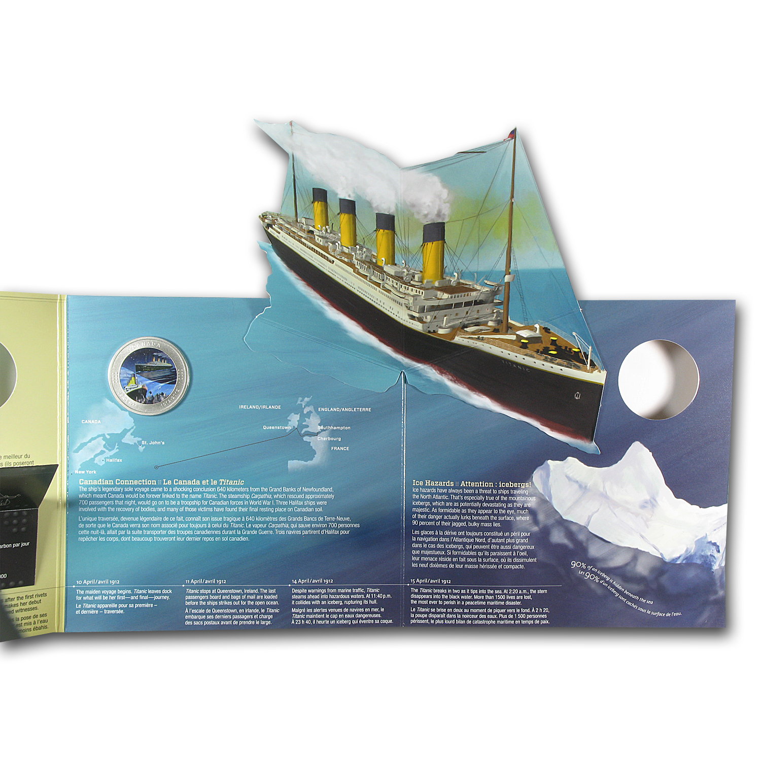 2012 Canadian $0.25 RMS Titanic - Coloured Coin in Display Card
