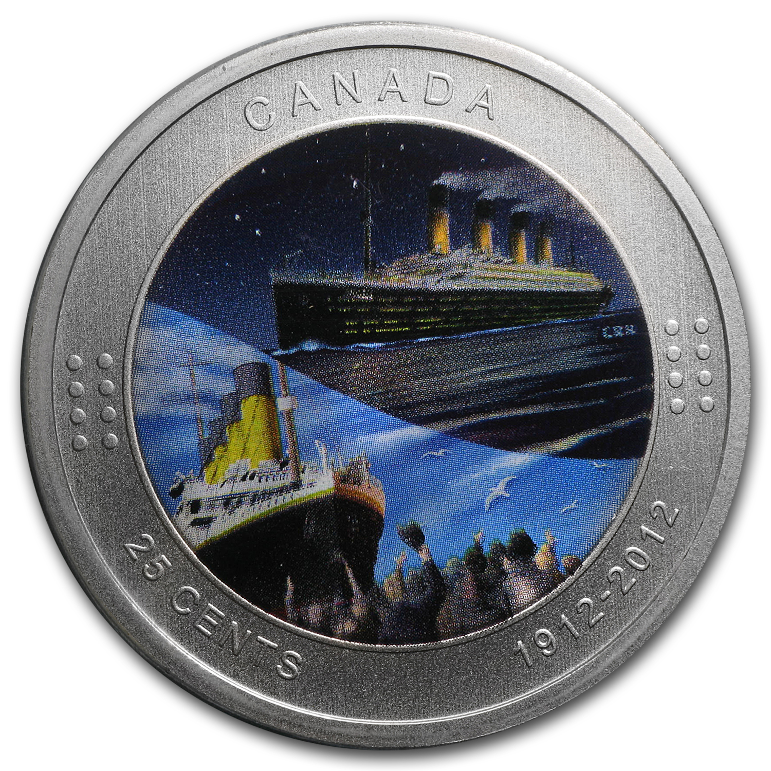 2012 Canada $0.25 RMS Titanic (Coloured, in Display Card)