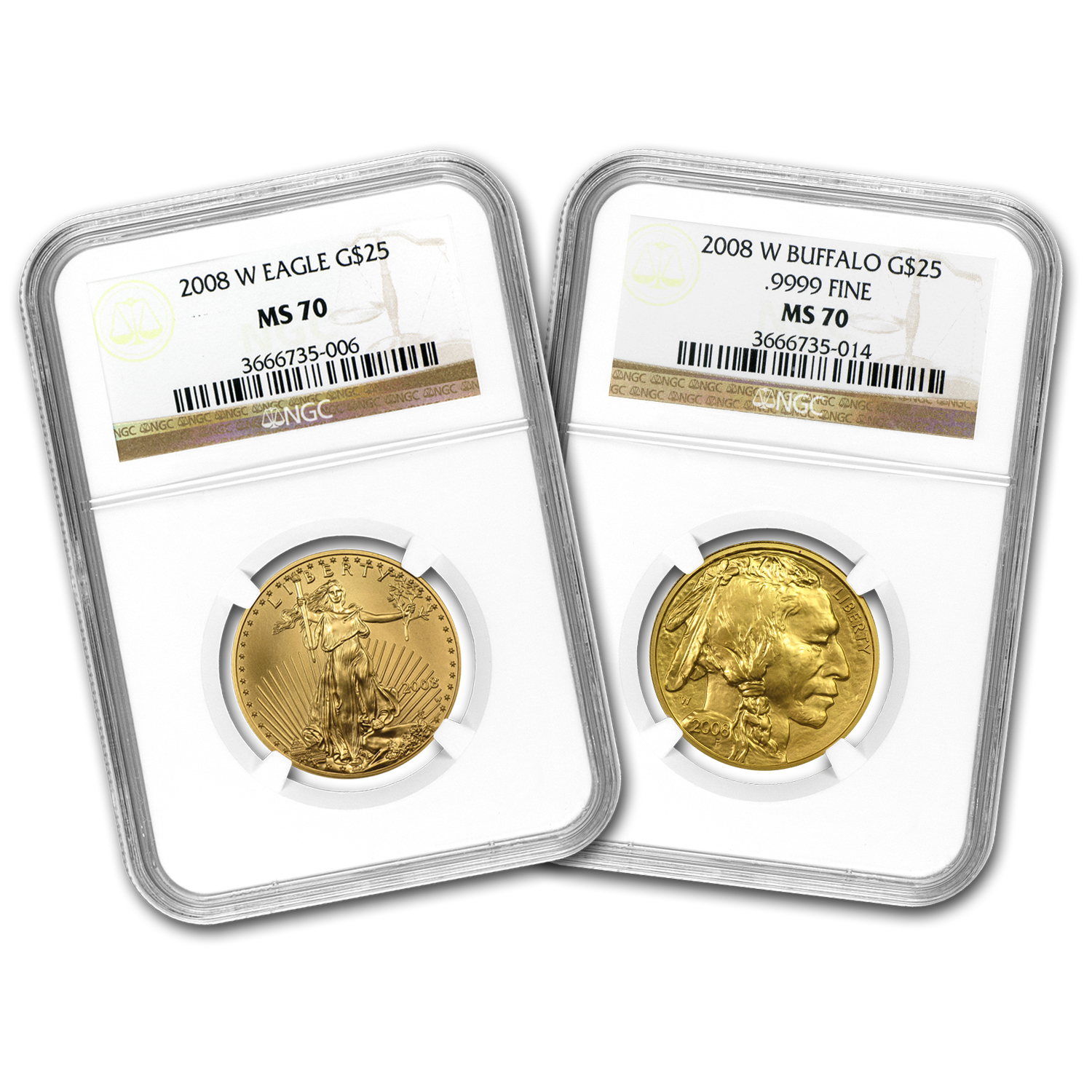 8-8-2008 2-Coin Gold Double Prosperity Set MS-70 NGC
