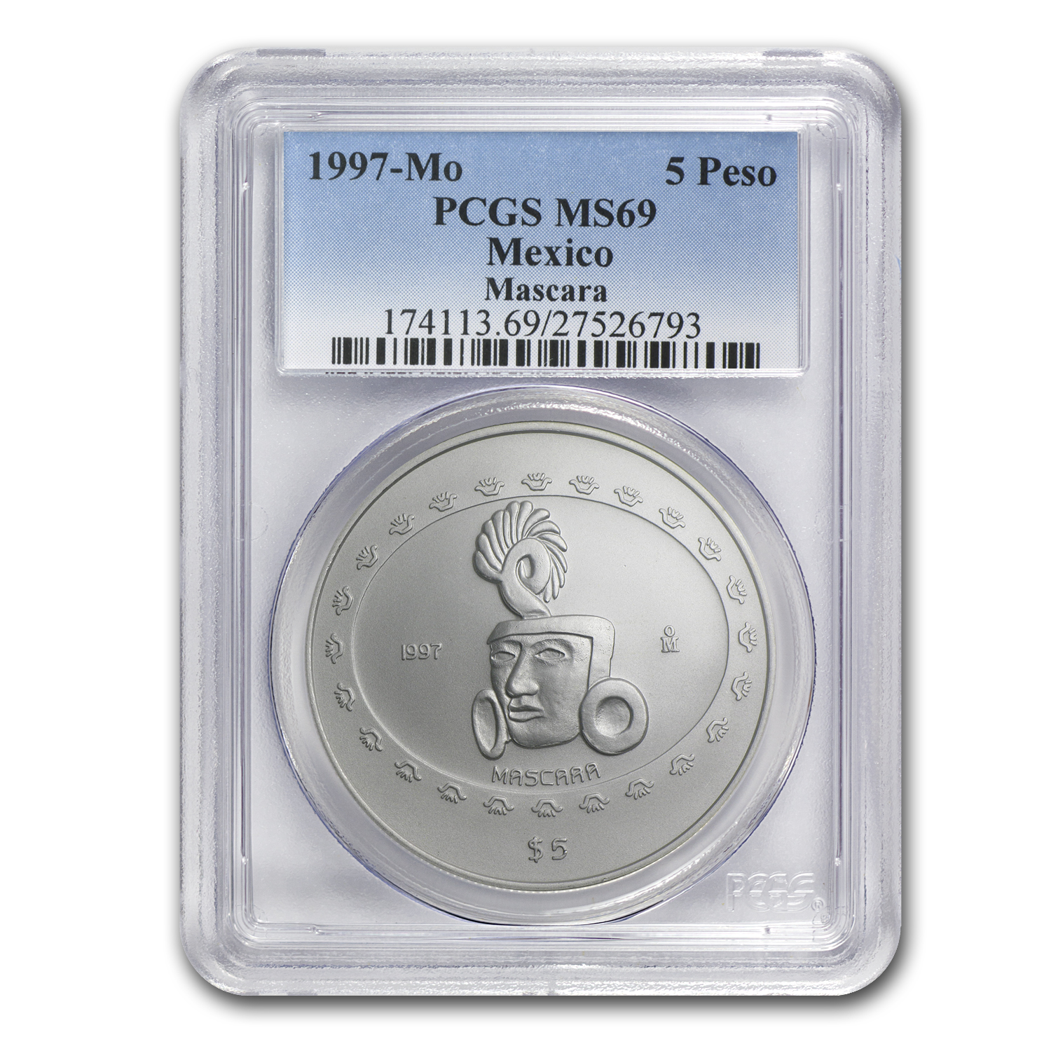 1997 Mexico 1 oz Silver 5 Pesos Mascara MS-69 PCGS