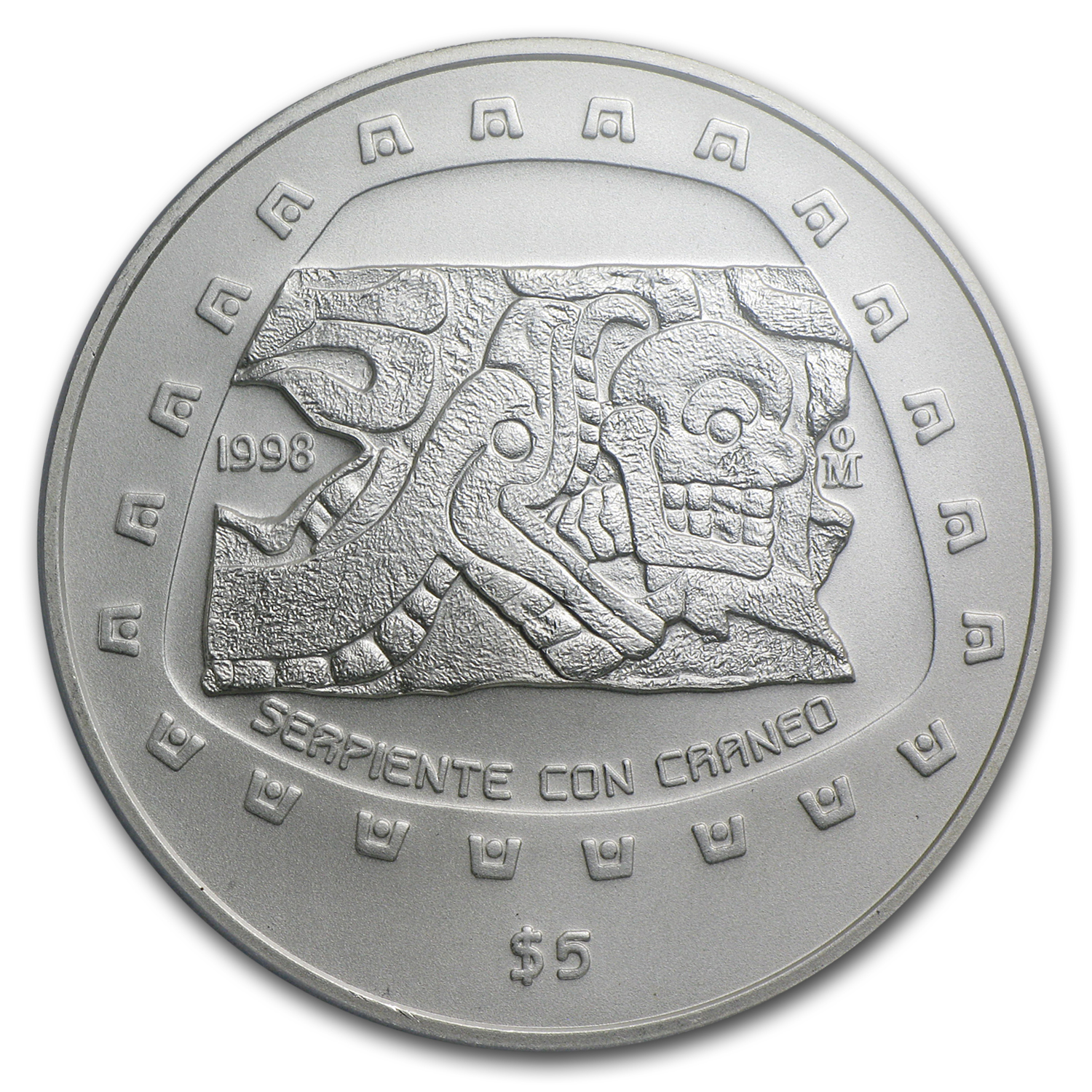 1998 Mexico 1 oz Silver 5 Pesos Serpiente MS-69 PCGS