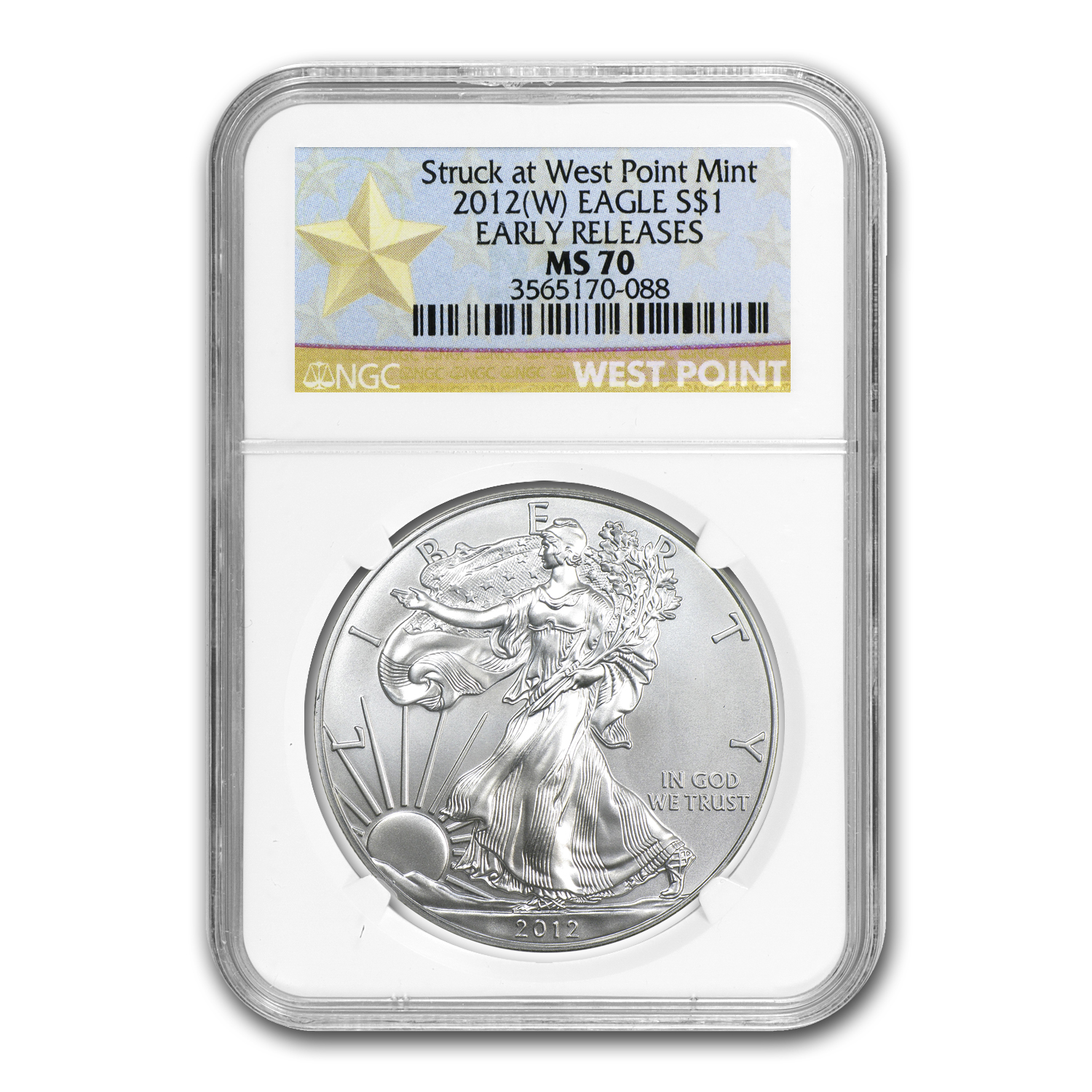 2012 (W) Silver Eagle MS-70 NGC (ER, West Point Star Label)