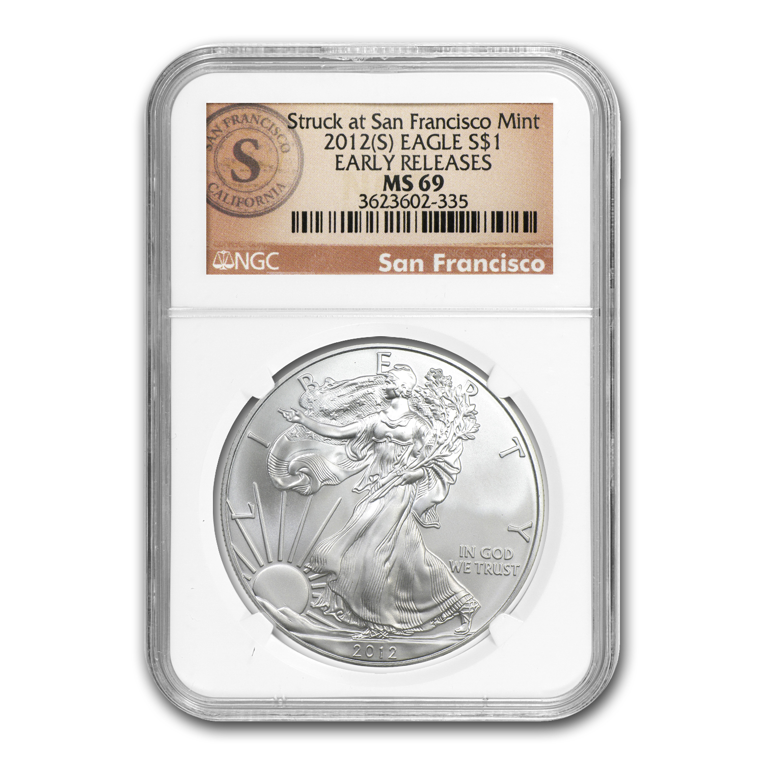 2012 (S) Silver American Eagle MS-69 NGC (Early Releases)