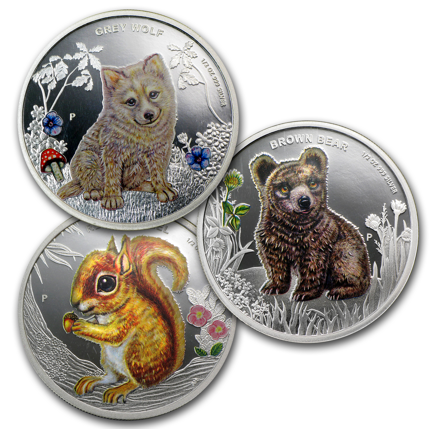 2013 Tuvalu 3-Coin 1/2 oz Silver Forest Babies Proof Set