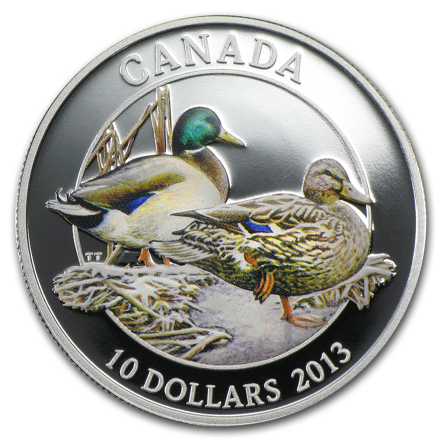 2013 ½ oz Silver Ducks of Canada –Mallard w/ Wood Box & Duck Call
