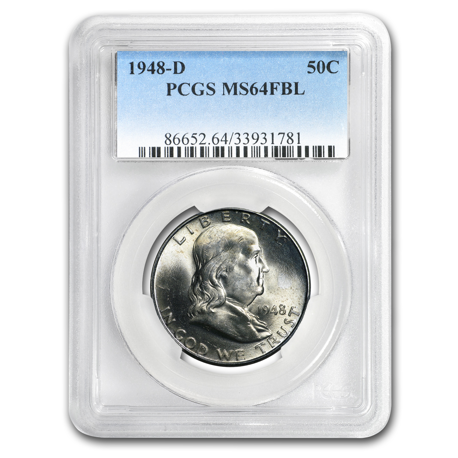 1948-D Franklin Half Dollar MS-64 PCGS (FBL)