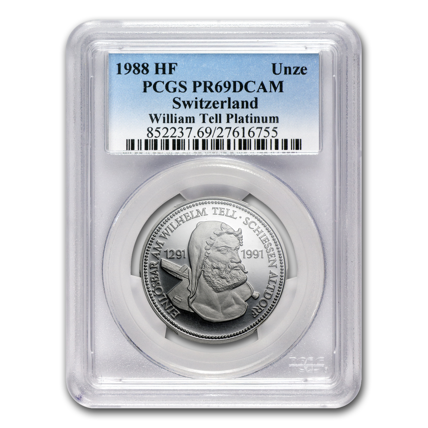 1988 1 oz Swiss Platinum William Tell (PCGS PR-69 DCAM)