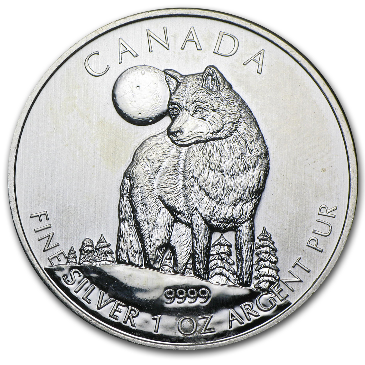 2011 1 oz Silver Canadian Wildlife Series-Wolf -Abrasions/Spotted