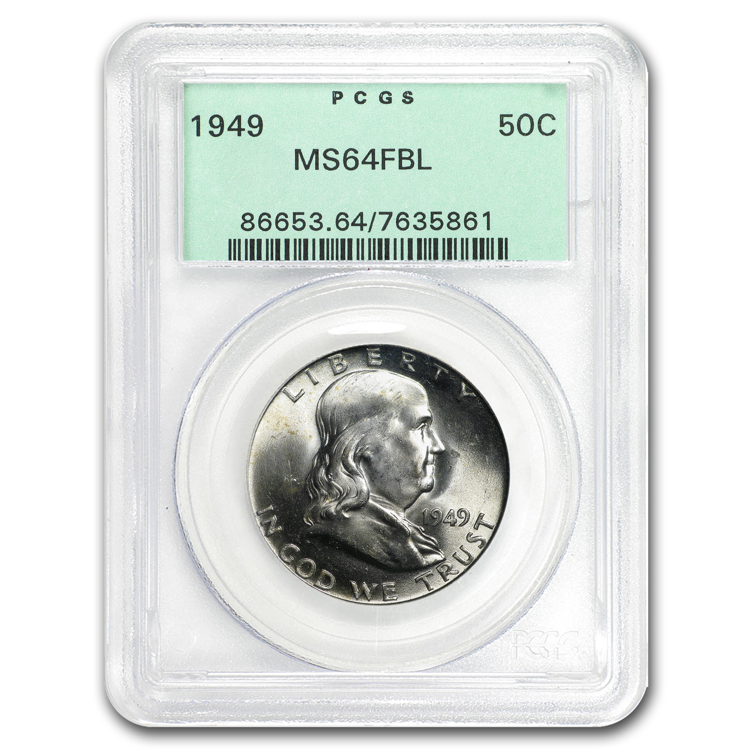 1949 Franklin Half Dollar MS-64 PCGS (FBL)