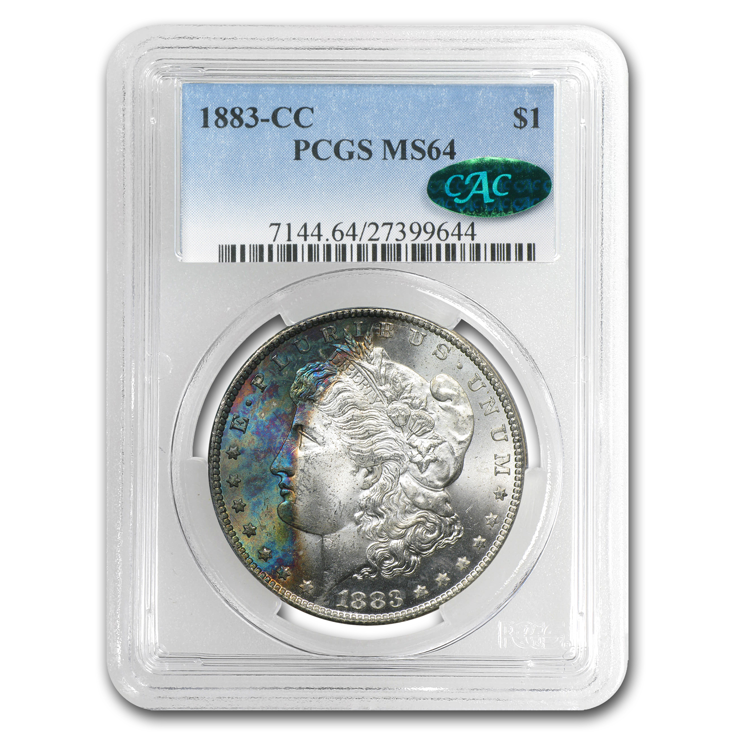 1883-CC Morgan Dollar MS-64 PCGS Beautiful Toned Obverse CAC