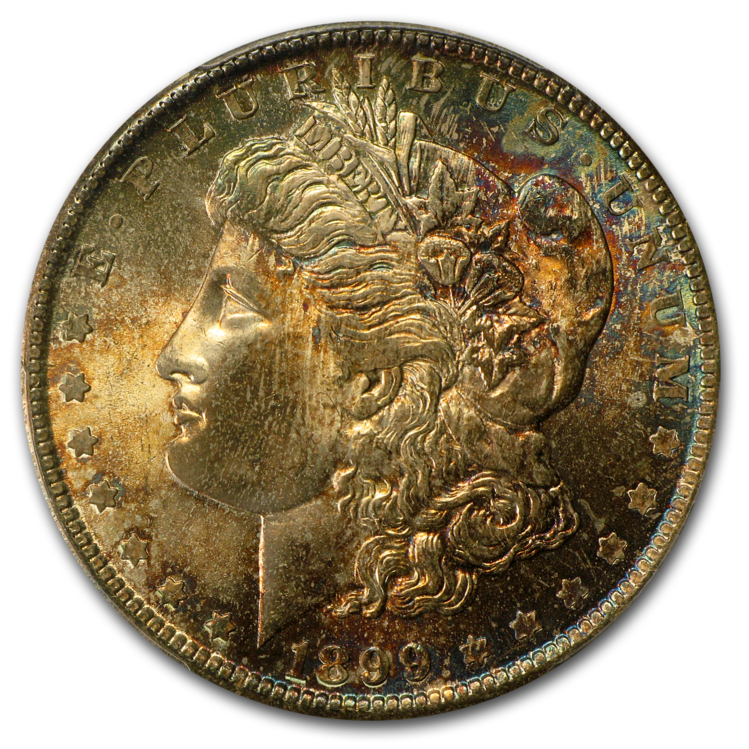 1899-O Morgan Dollar MS-65 PCGS - Burgundy and Blue Obverse - CAC