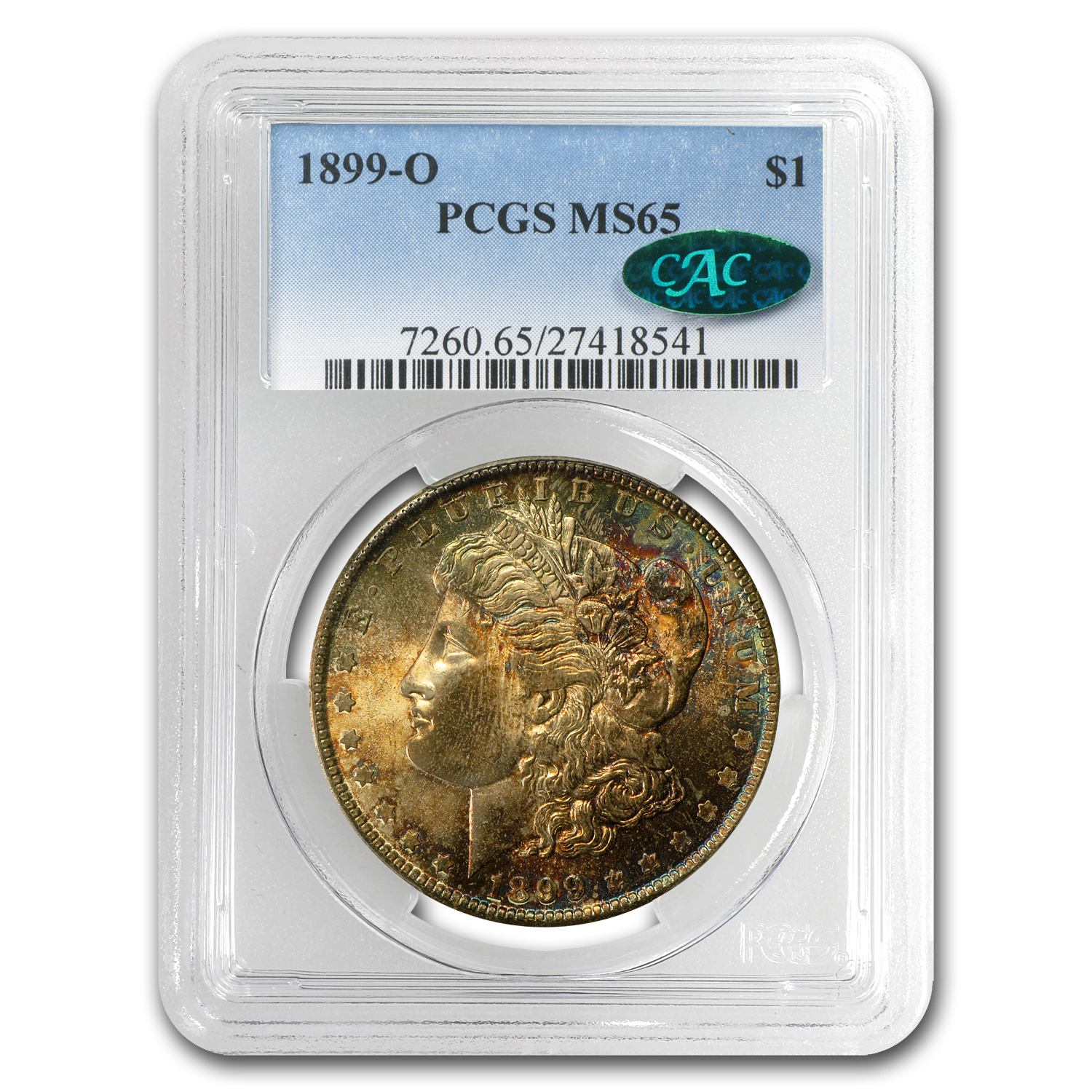 1899-O Morgan Dollar MS-65 PCGS (CAC, Burgundy & Blue Obv)