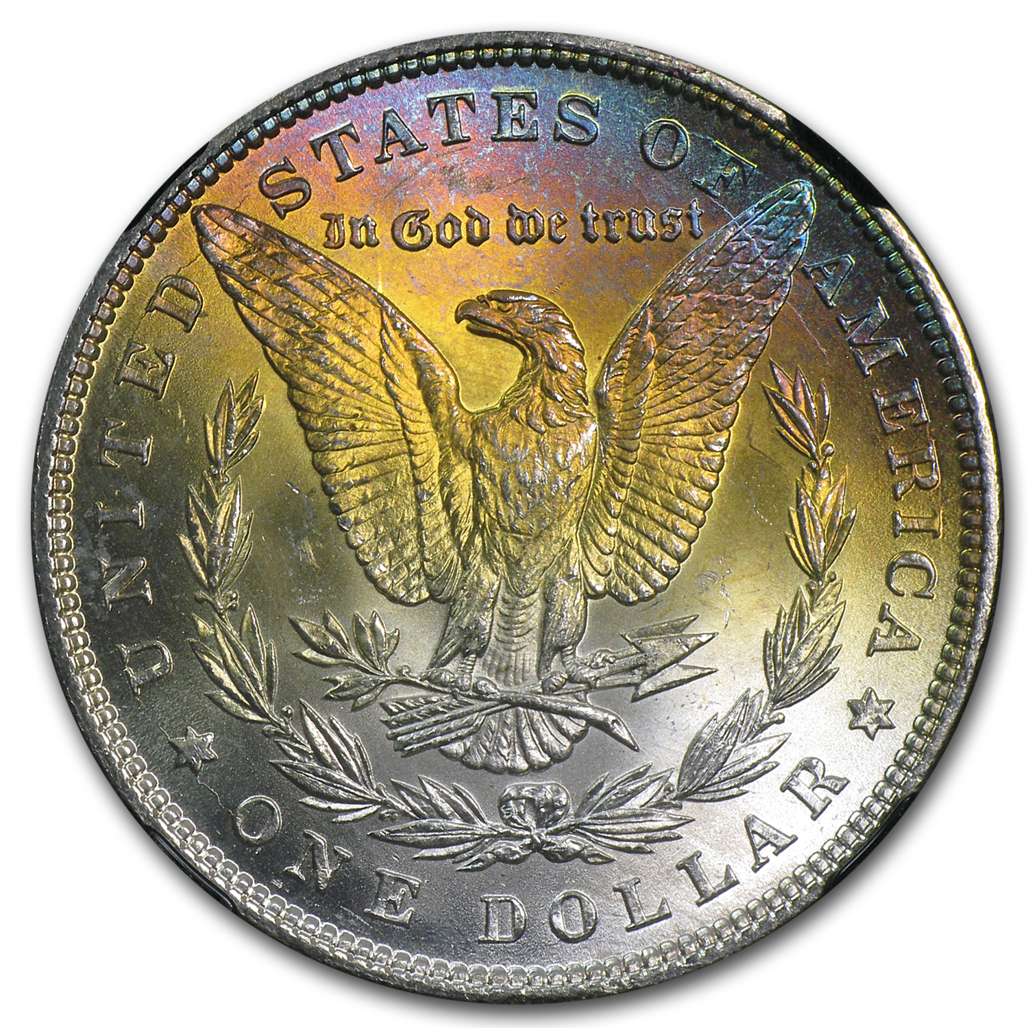 1885 Morgan Dollar MS-63* Star NGC (Blue & Yellow, CAC)