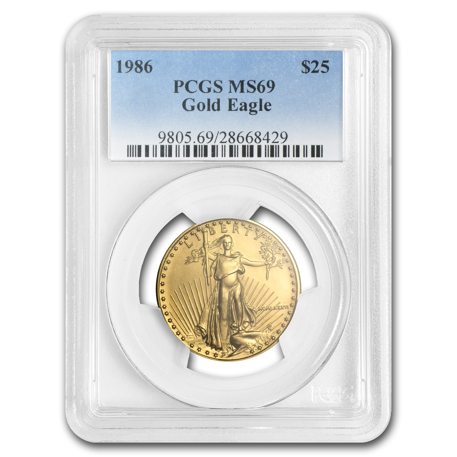 1986 1/2 oz Gold American Eagle MS-69 PCGS