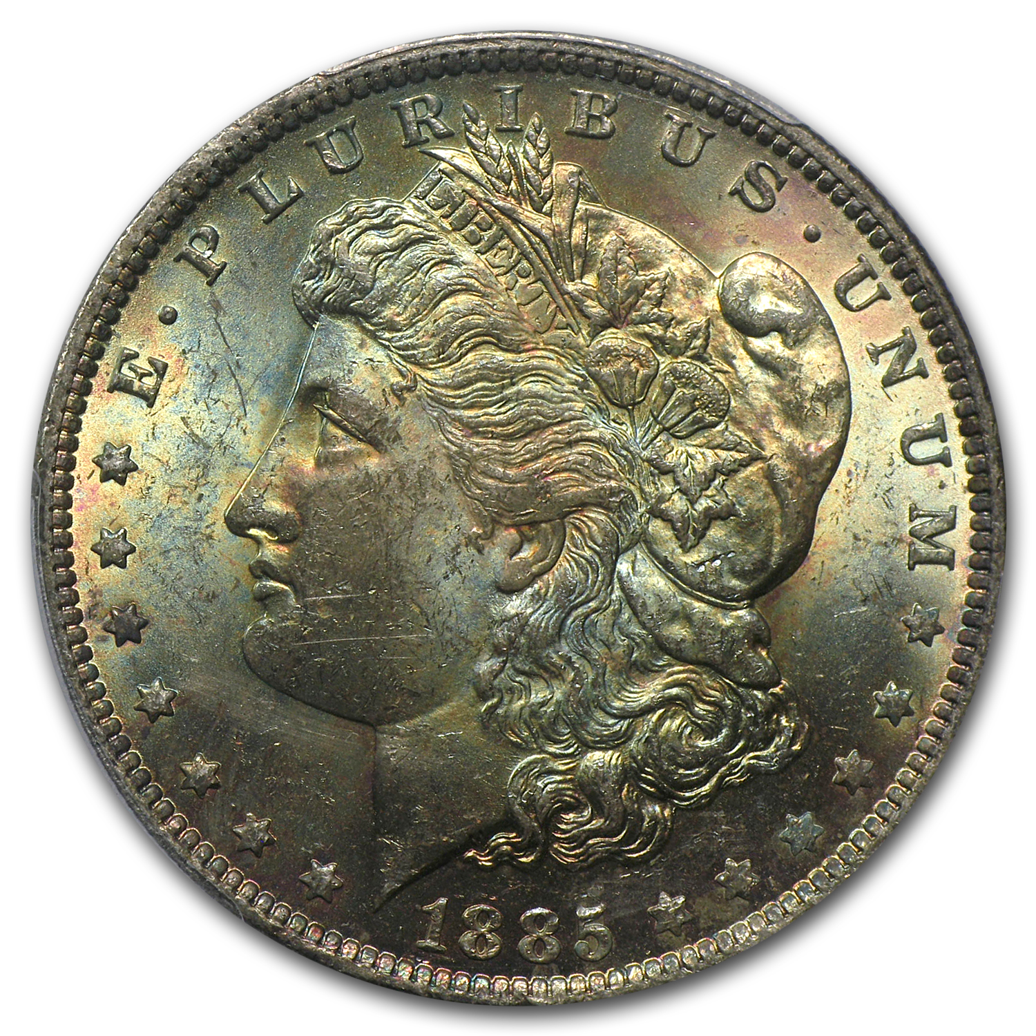 1885-O Morgan Dollar MS-63 PCGS - Green and Red Toning - CAC