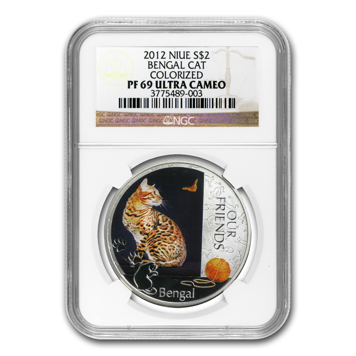 2012 1 oz Silver Niue Kitten Collection Bengal Cat PF-69 NGC