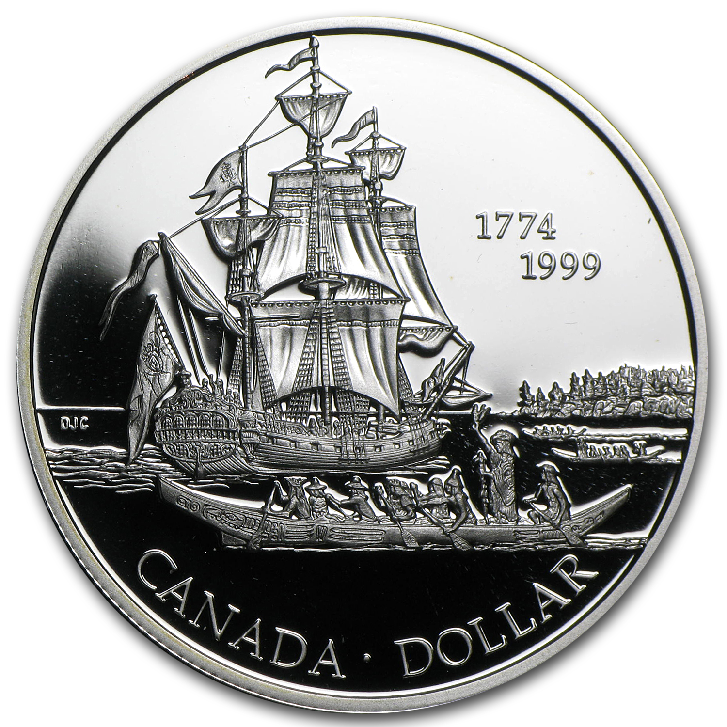 1999 Canadian Proof Silver Dollar - Queen Charlotte Islands