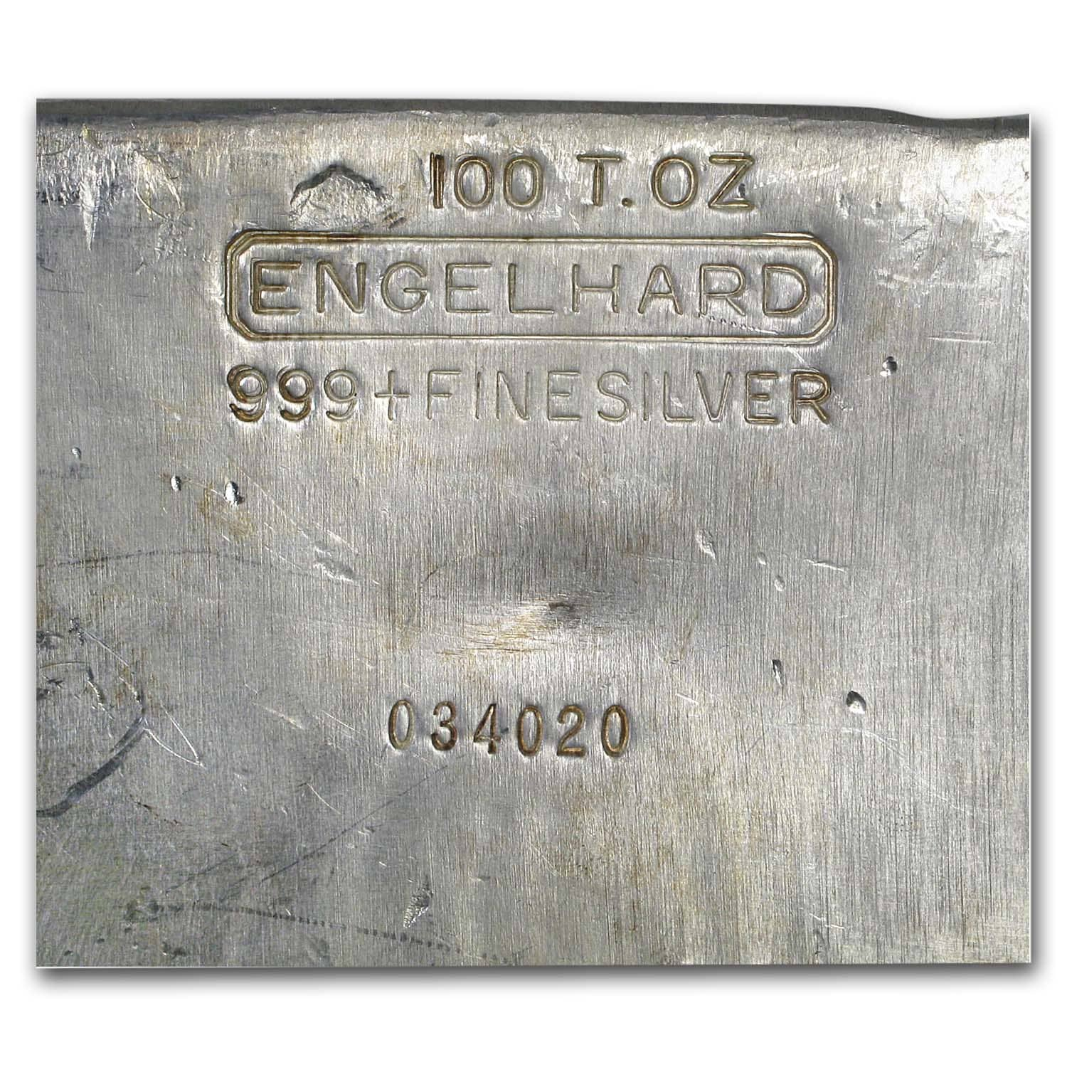 100 oz Silver Bars - Engelhard (Vintage/Poured)