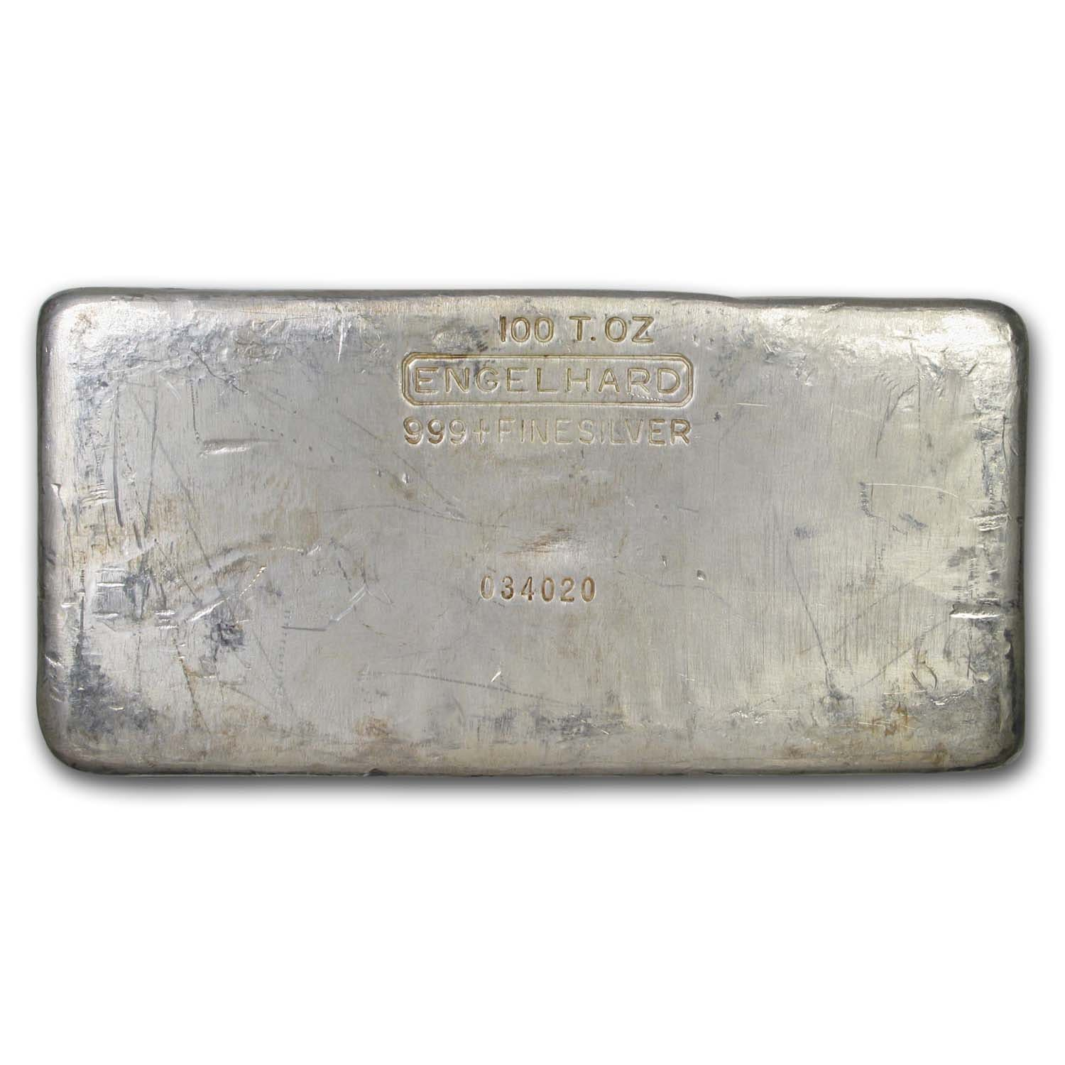 100 oz Silver Bar - Engelhard (Second Generation/Poured)