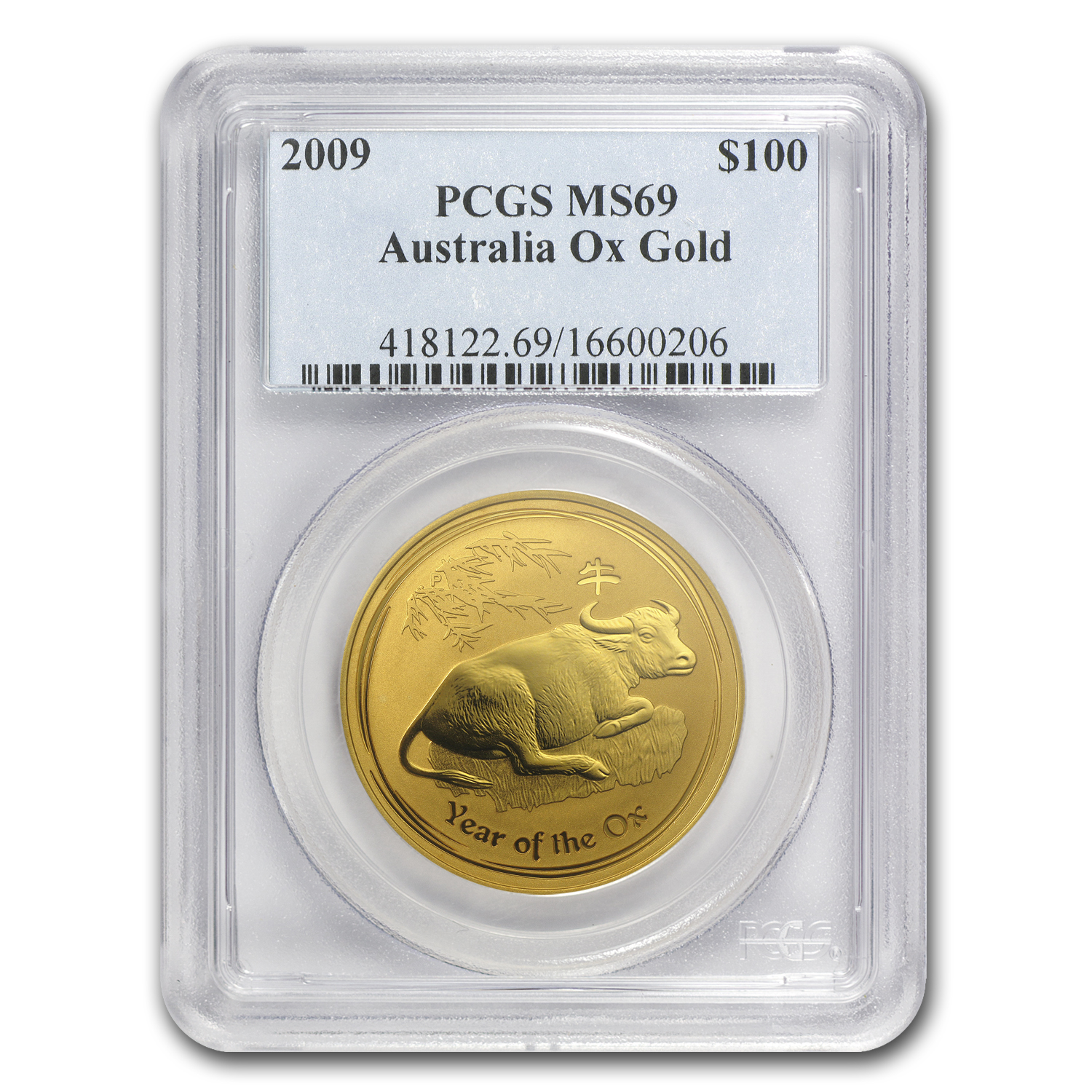 2009 1 oz Gold Lunar Year of the Ox (Series II) NGC MS-69