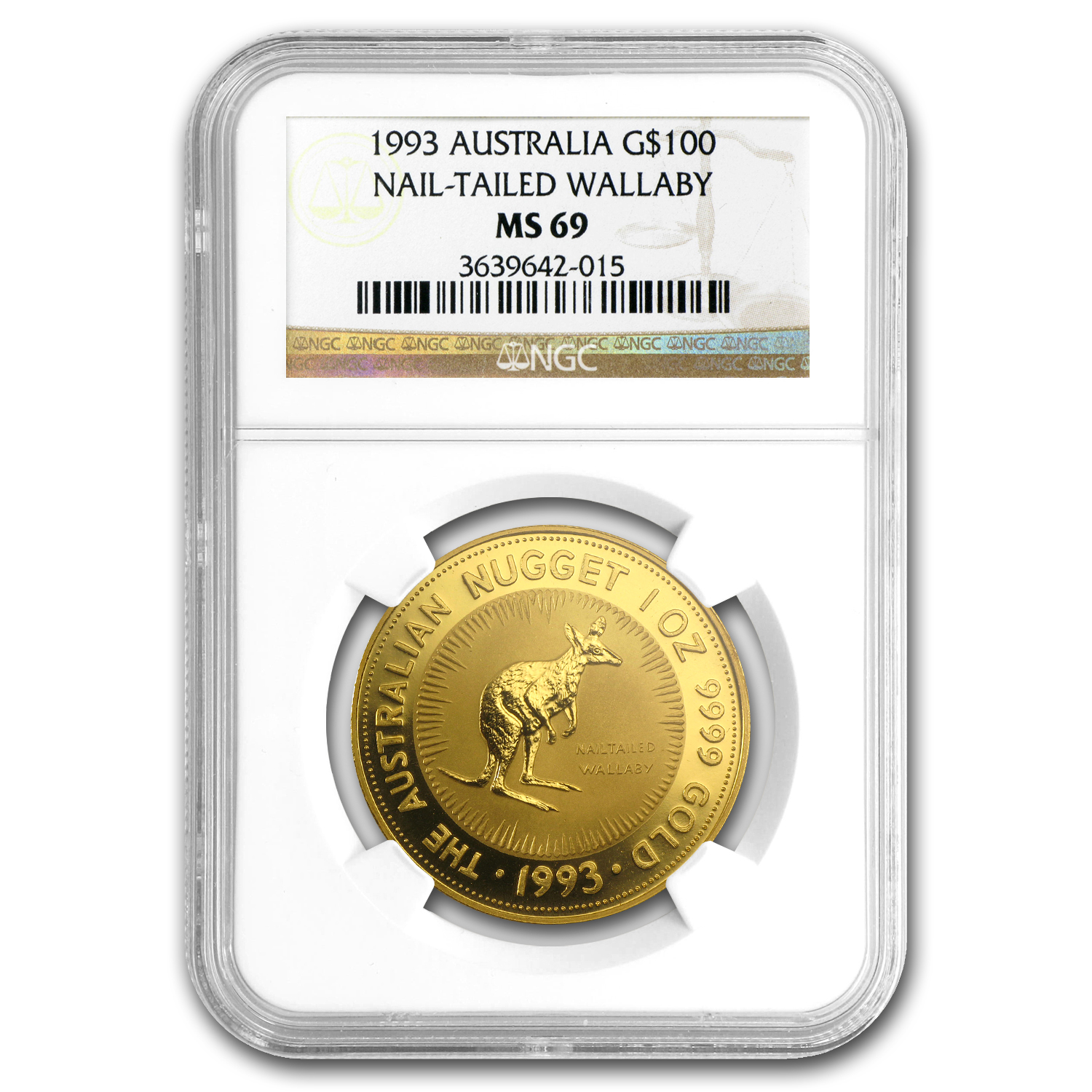 1993 1 oz Australian Gold Nugget MS-69 NGC