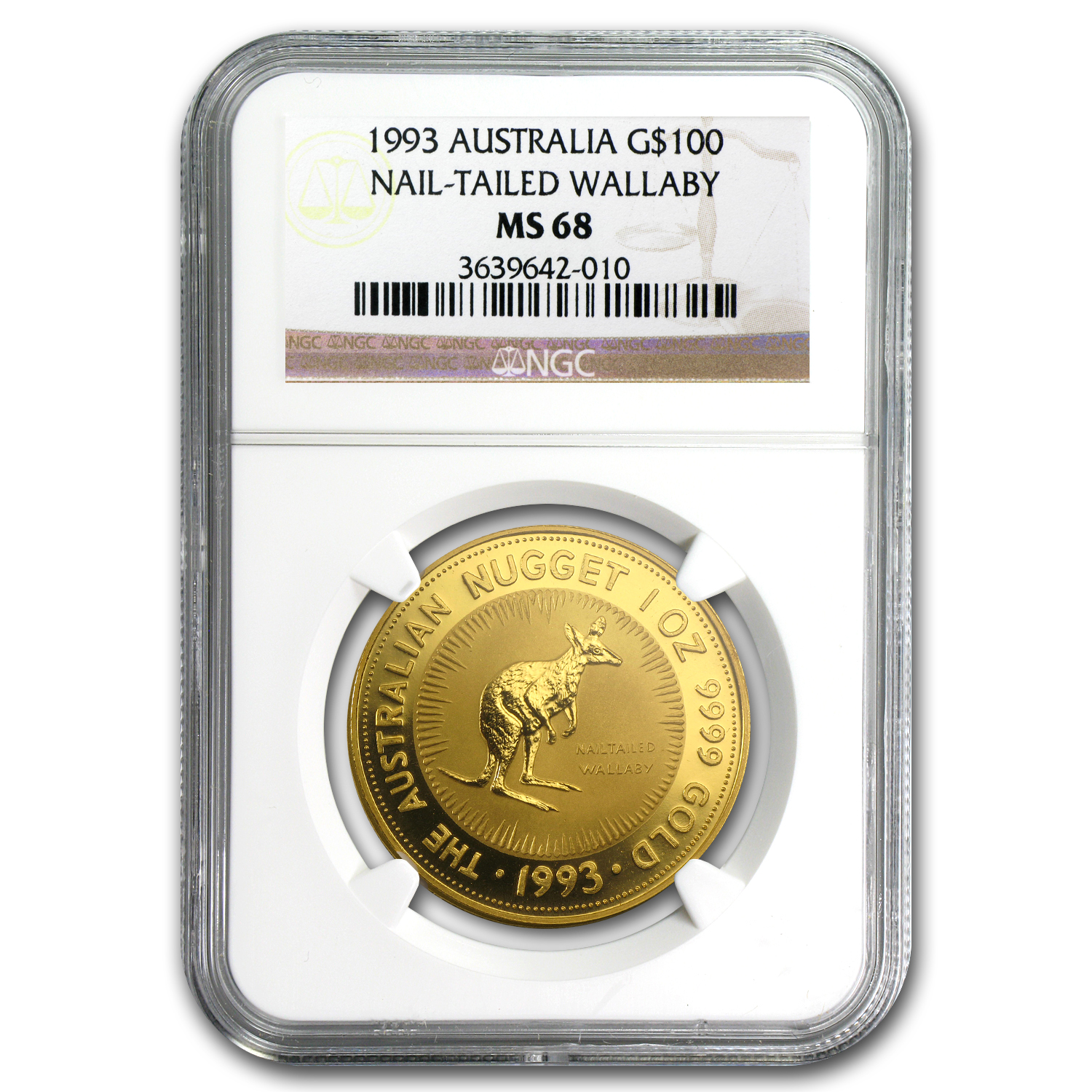 1993 Australia 1 oz Gold Nugget MS-68 NGC