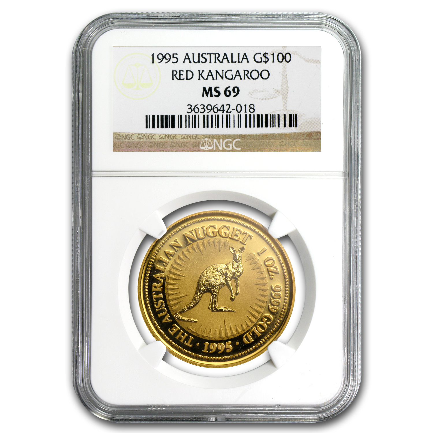 1995 Australia 1 oz Gold Nugget MS-69 NGC