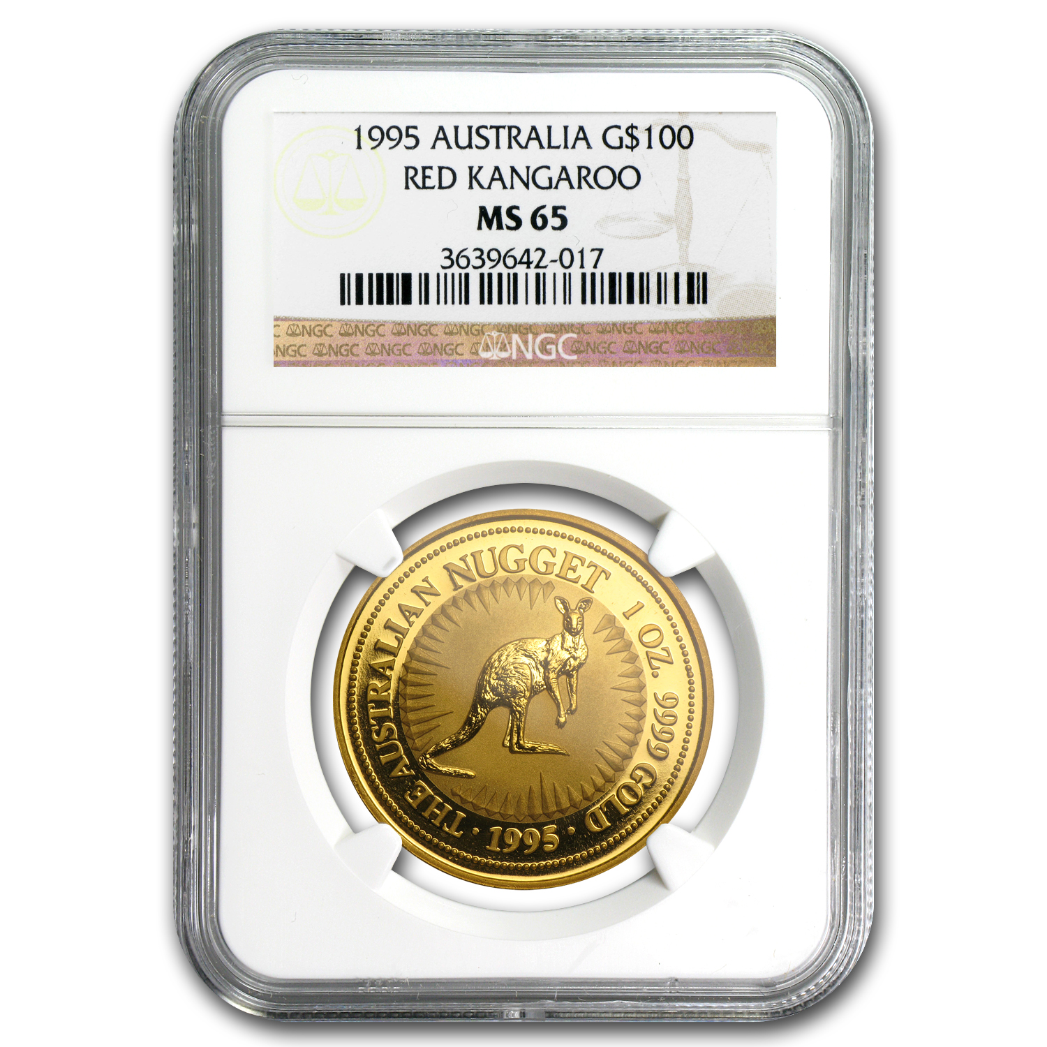 1995 Australia 1 oz Gold Nugget MS-65 NGC