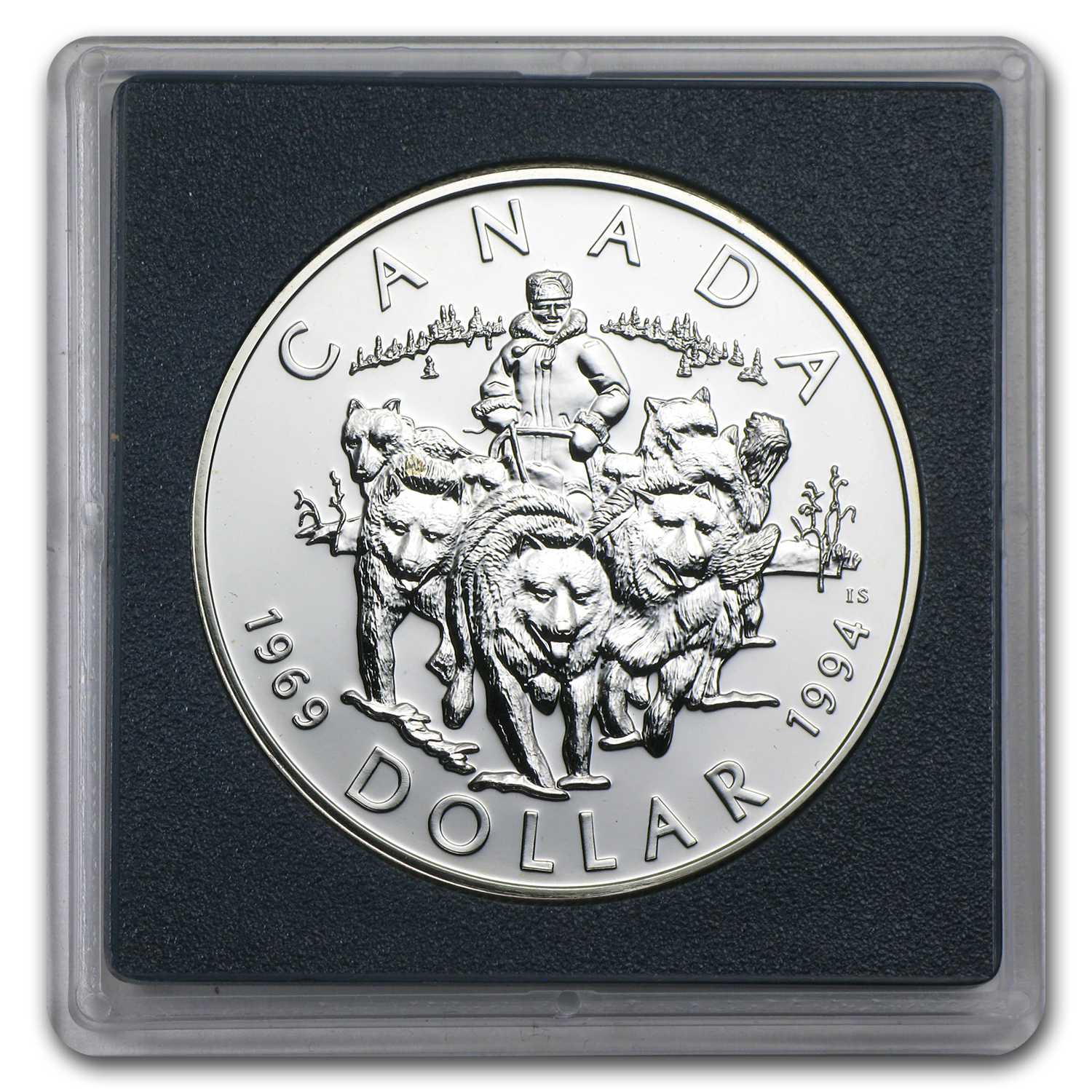 1994 Canadian BU Silver Dollar - RCMP Northern Dog Team Patrol