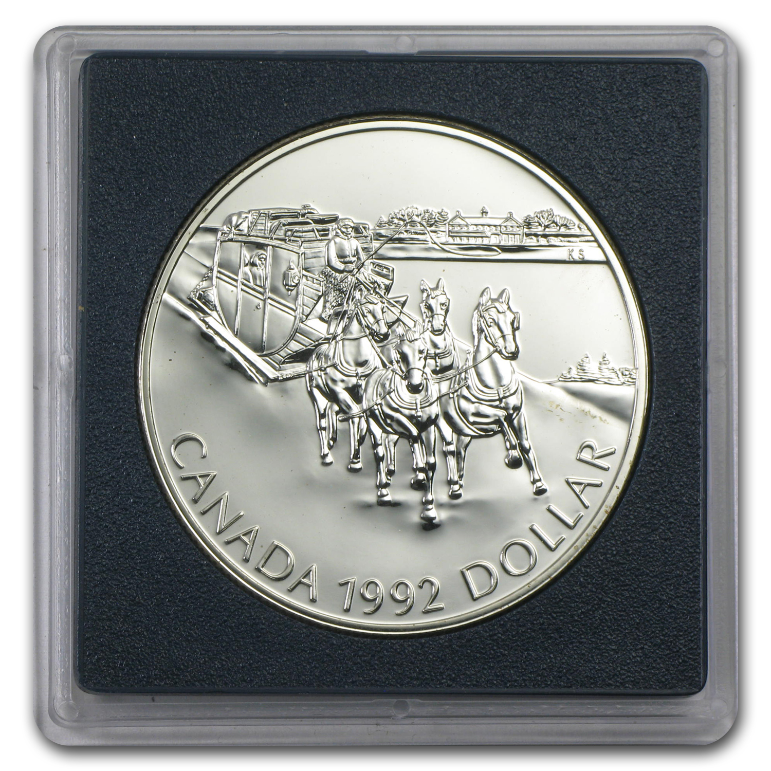 1992 Canadian BU Silver Dollar - Stagecoach Service Commemorative