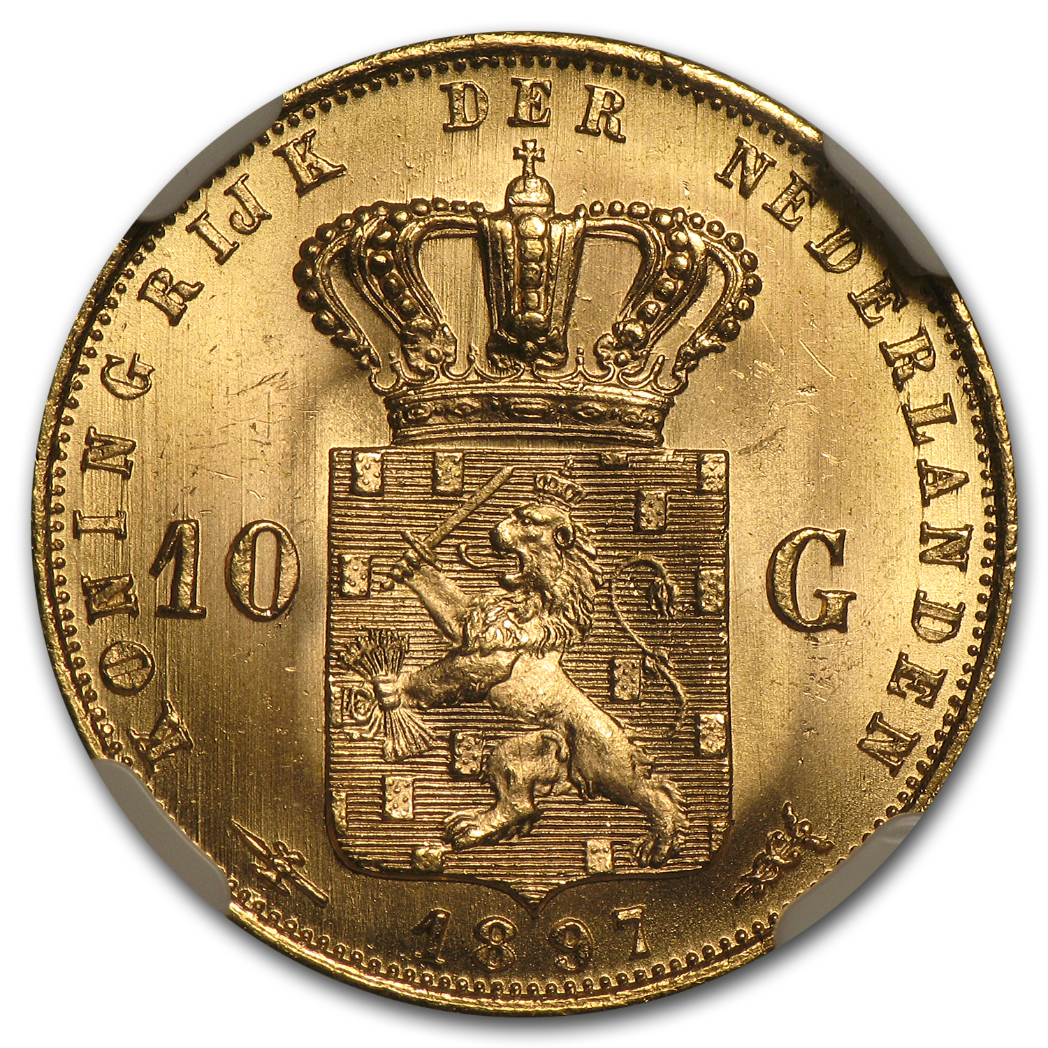 Netherlands 1897 Gold 10 Gulden NGC MS-66
