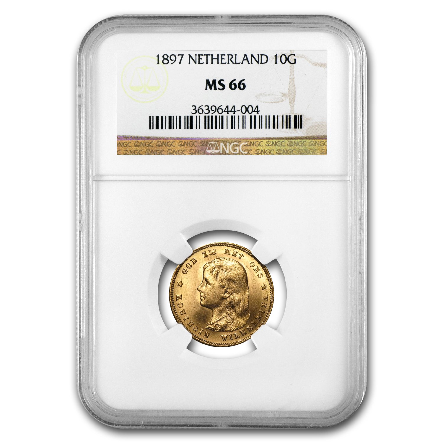 1897 Netherlands Gold 10 Gulden MS-66 NGC