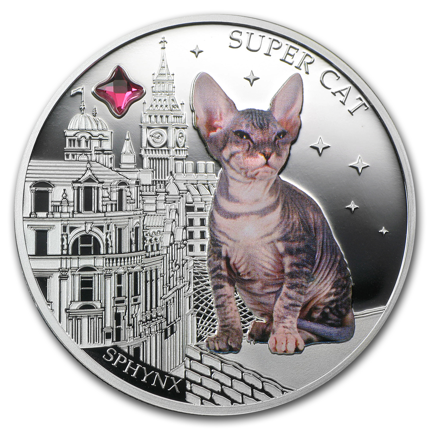 Fiji 2013 Silver Dogs & Cats Series - Super Cat - Sphynx