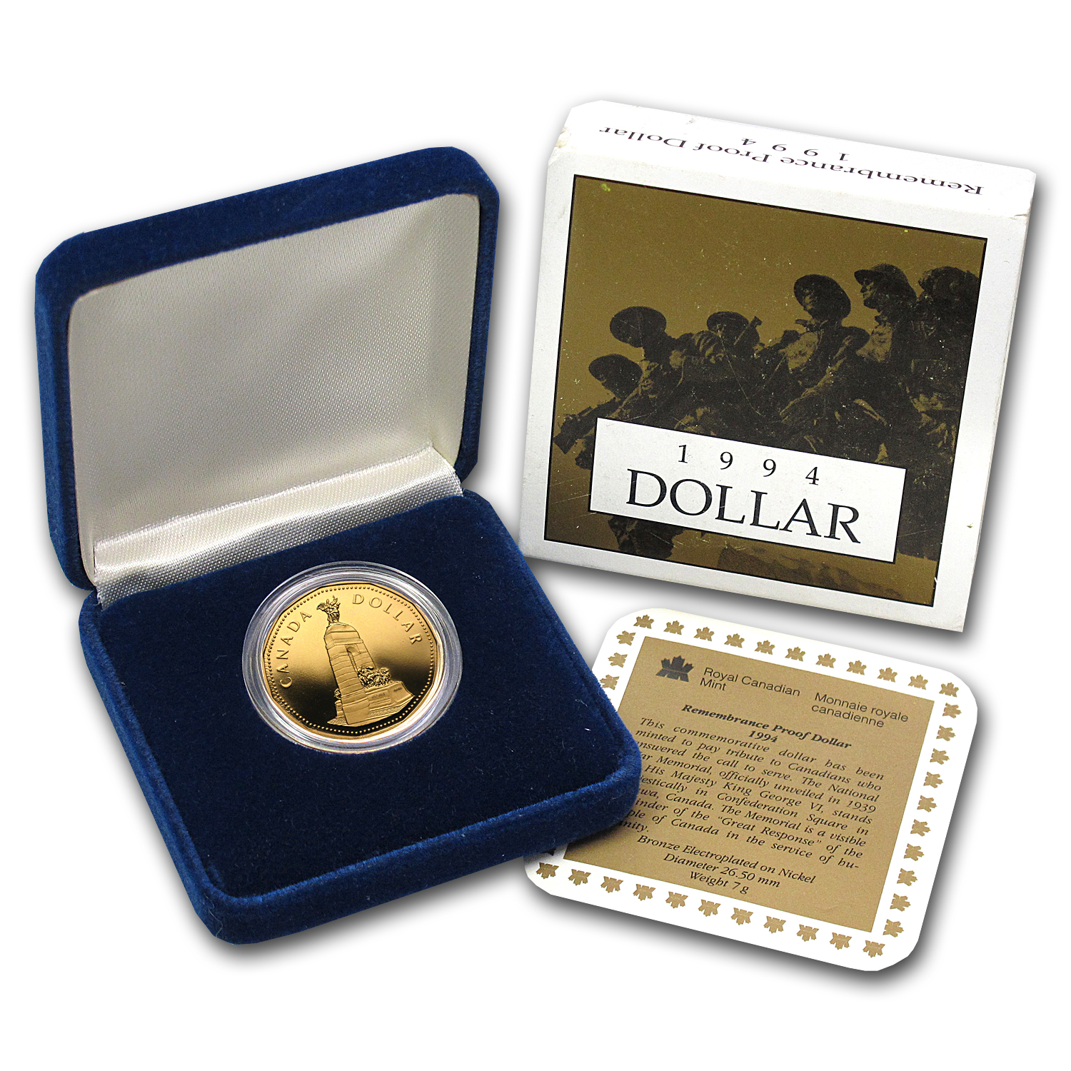 1994 Canadian Rememberance Dollar Proof (Bronze Electroplate)