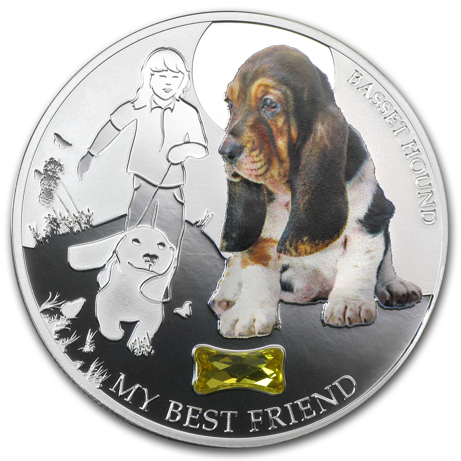 2013 Fiji Silver Dogs & Cats Series My Best Friend Basset Hound