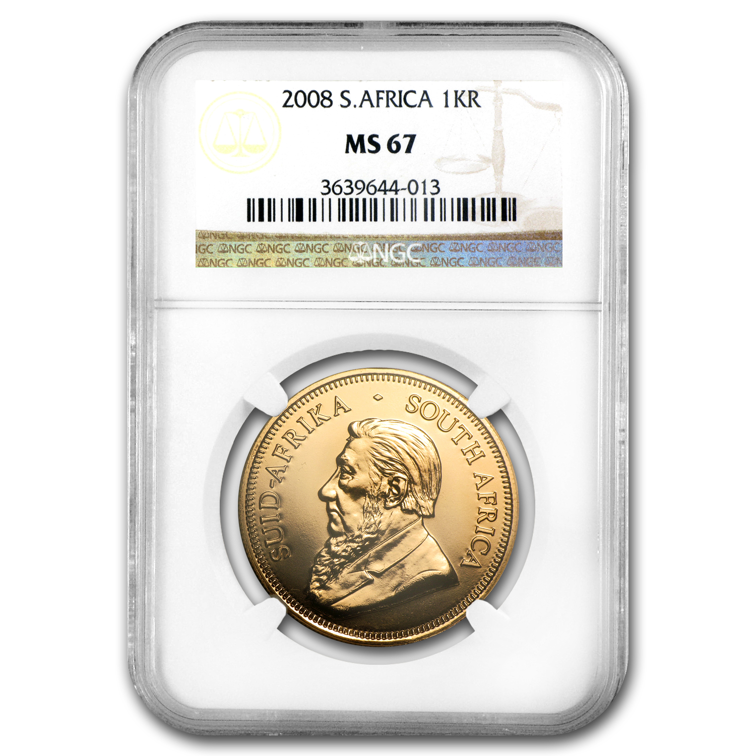 2008 1 oz Gold South African Krugerrand MS-67 NGC