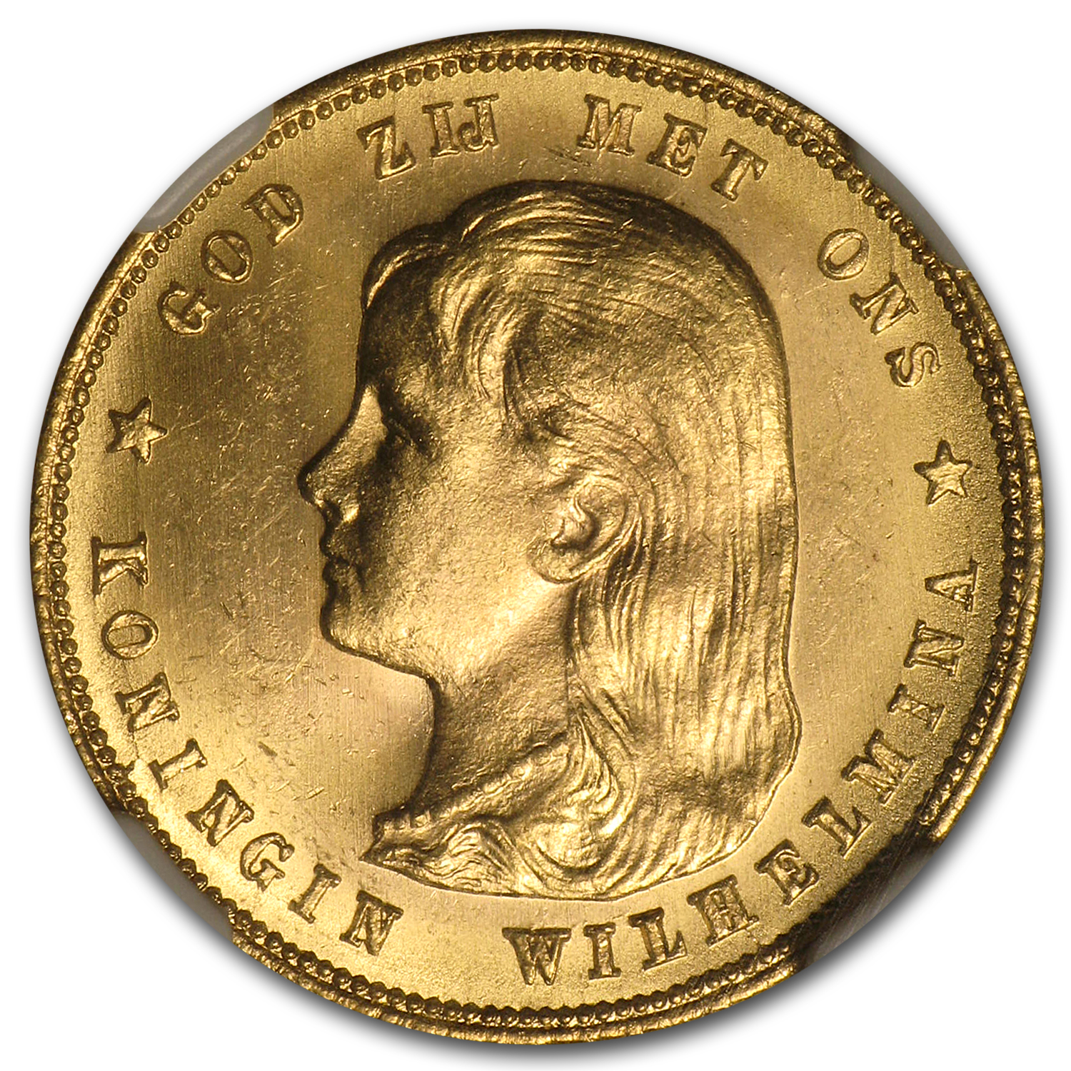 1897 Netherlands Gold 10 Guilders BU