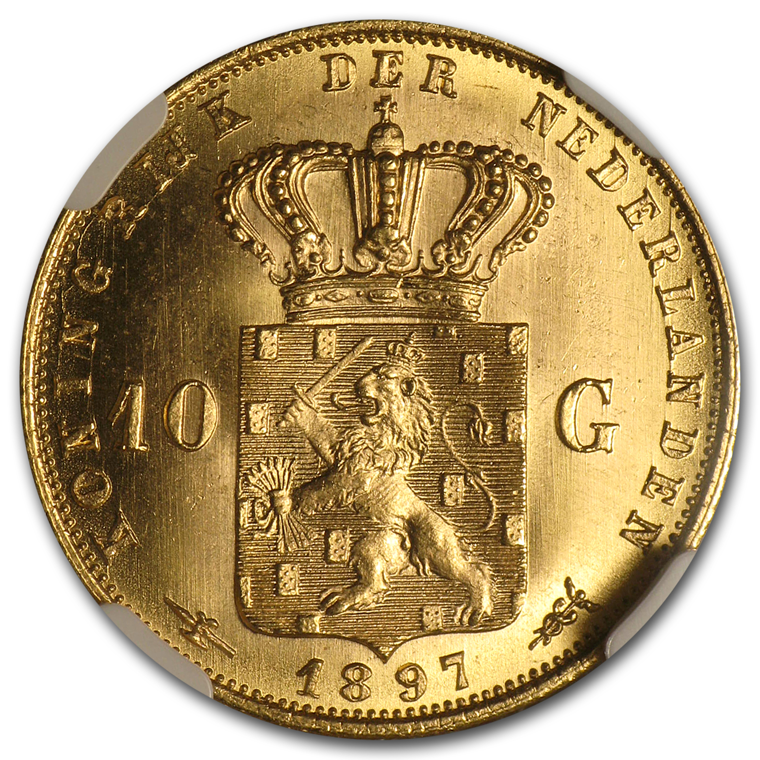 Netherlands 1897 Gold 10 Guilders BU