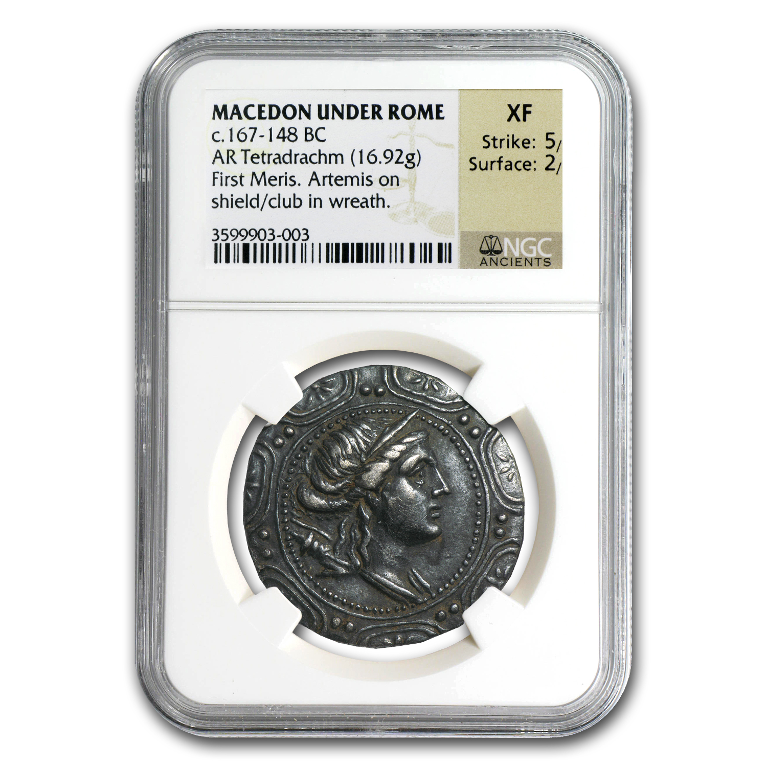 Macedon Under Rome Silver Tetradrachm XF NGC (167-148 BC)