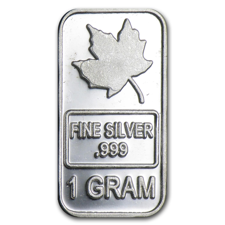 1 Gram Silver Bar Maple Leaf Fractional Less Than 1